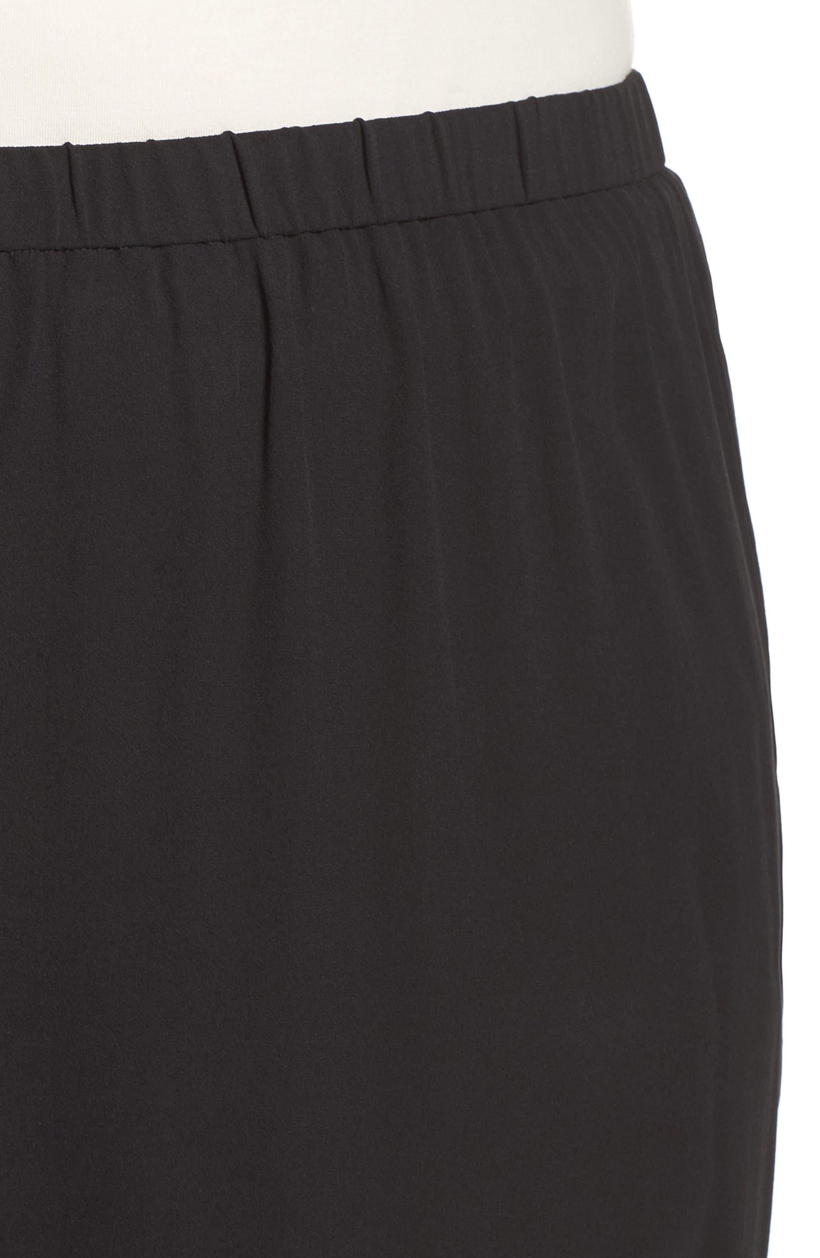 Silk Georgette Crop Pants,                             Alternate thumbnail 4, color,                             Black