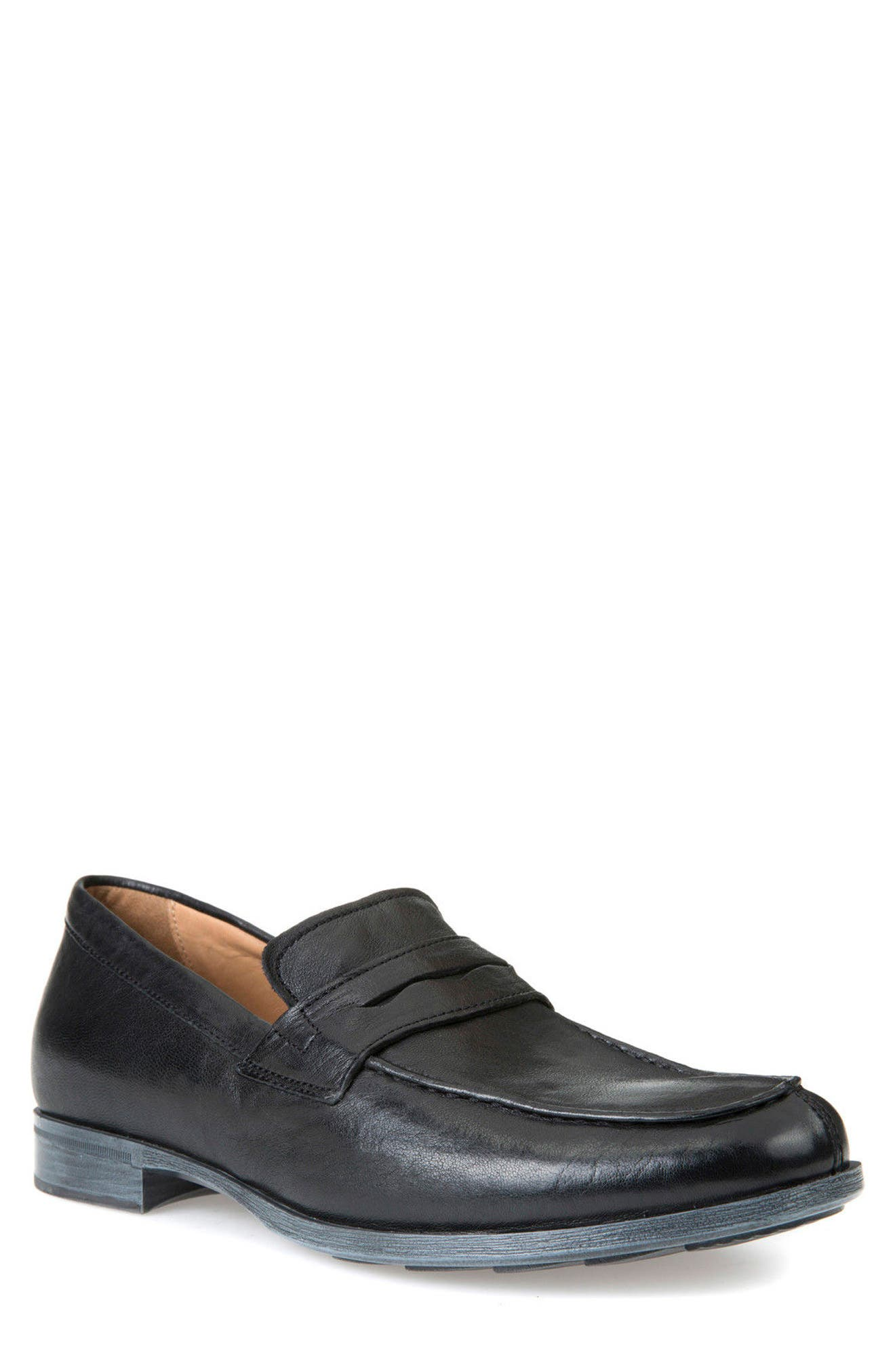 Besmington 6 Penny Loafer,                             Main thumbnail 1, color,                             Black Leather