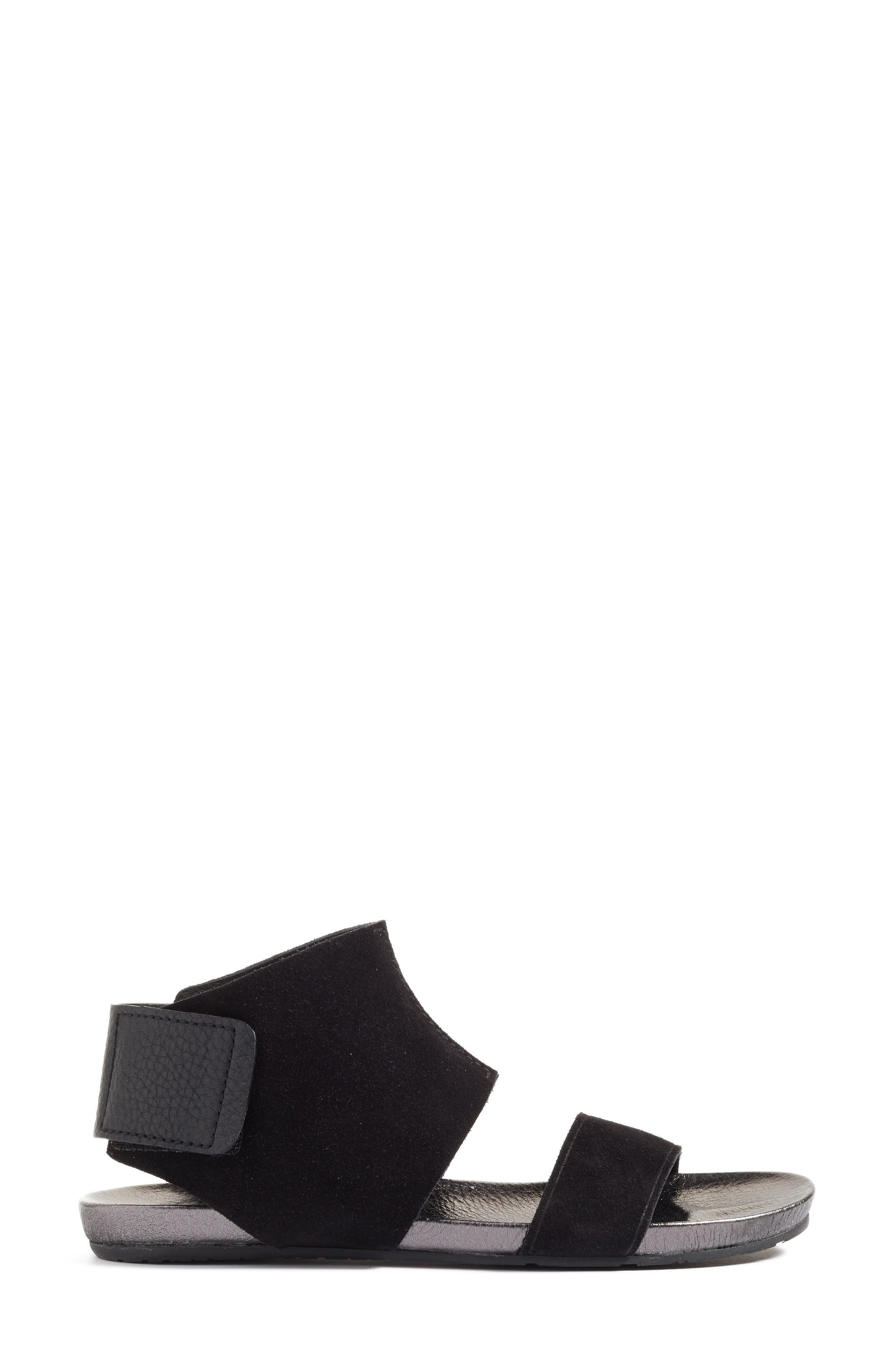 Ankle Cuff Sandal,                             Alternate thumbnail 3, color,                             Black Leather