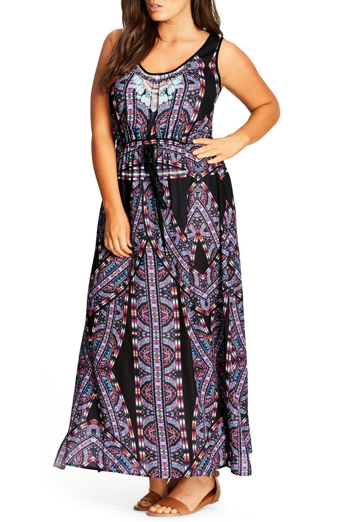 Alternate Image 1 Selected - City Chic 'Biba' Drawstring Maxi Dress (Plus Size)