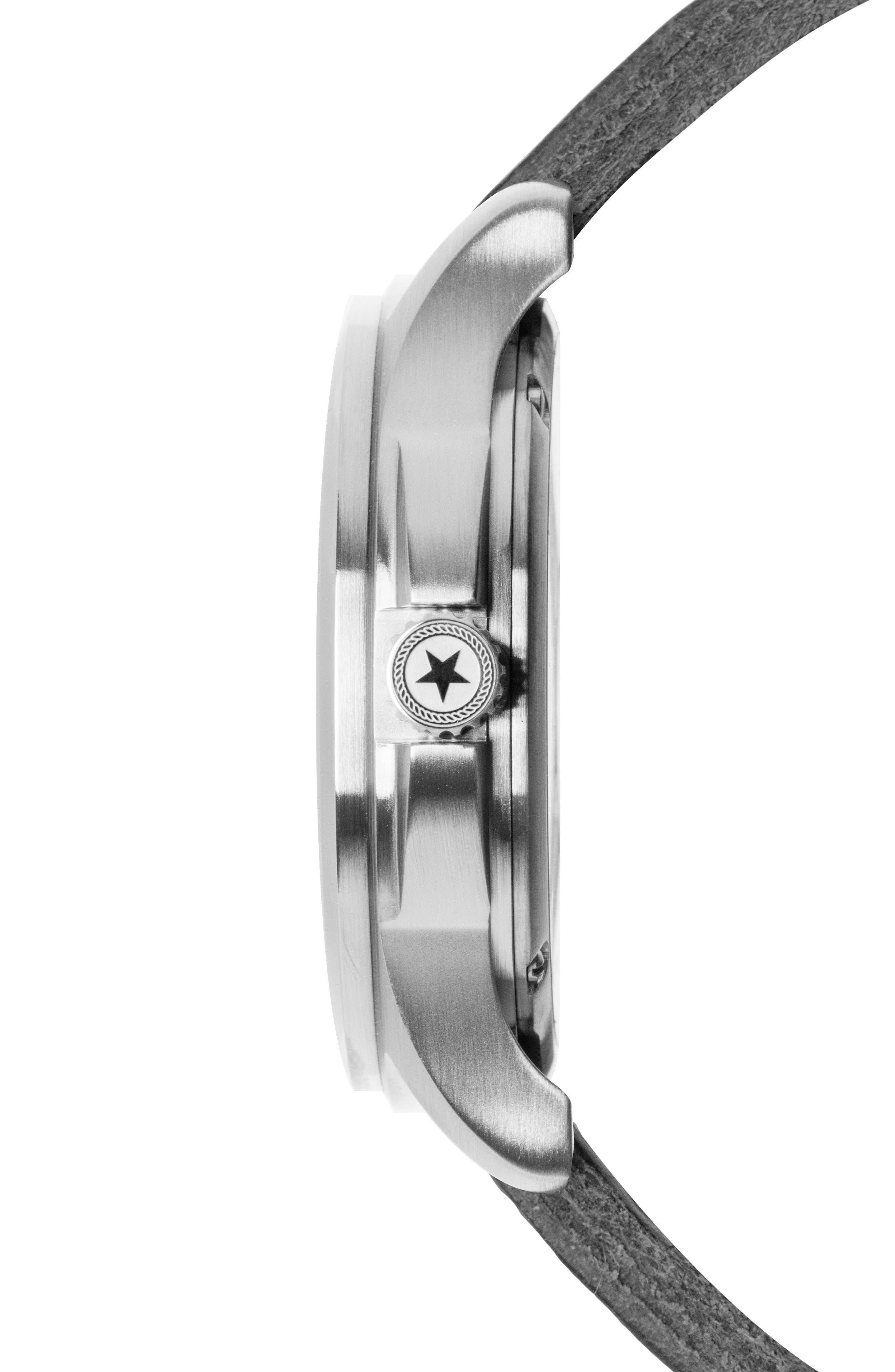 Alternate Image 3  - Jack Mason Field Leather Strap Watch, 46mm