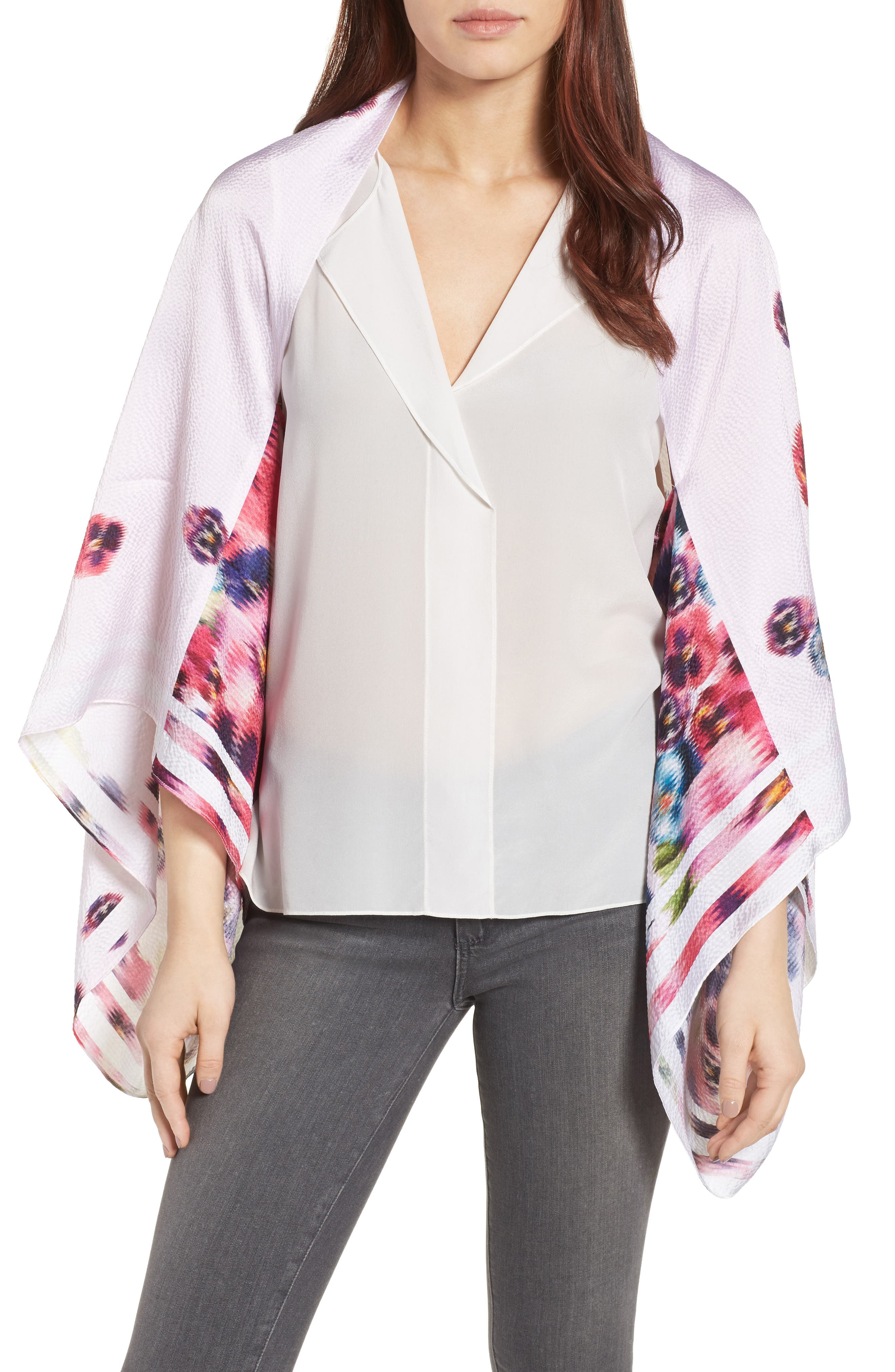 Main Image - Ted Baker London Ellila Expressive Pansy Floral Cape Scarf