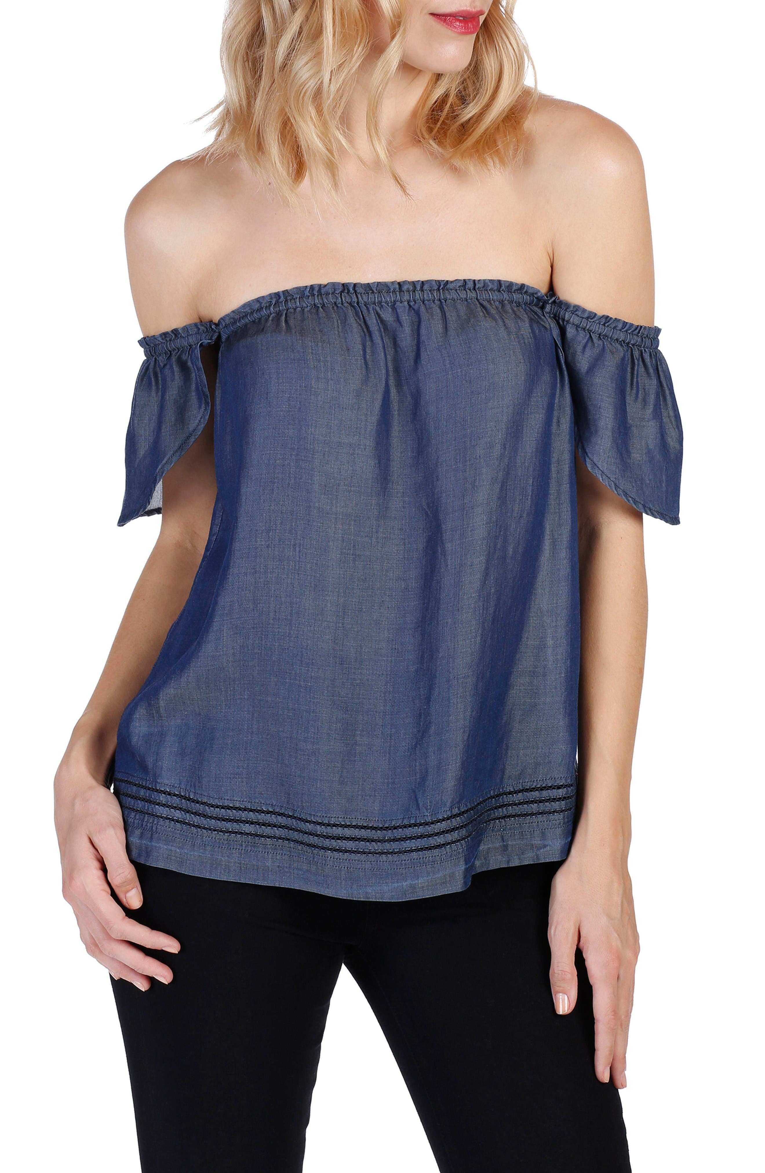 Beatrice Chambray Off the Shoulder Top,                             Main thumbnail 1, color,                             Cordelia