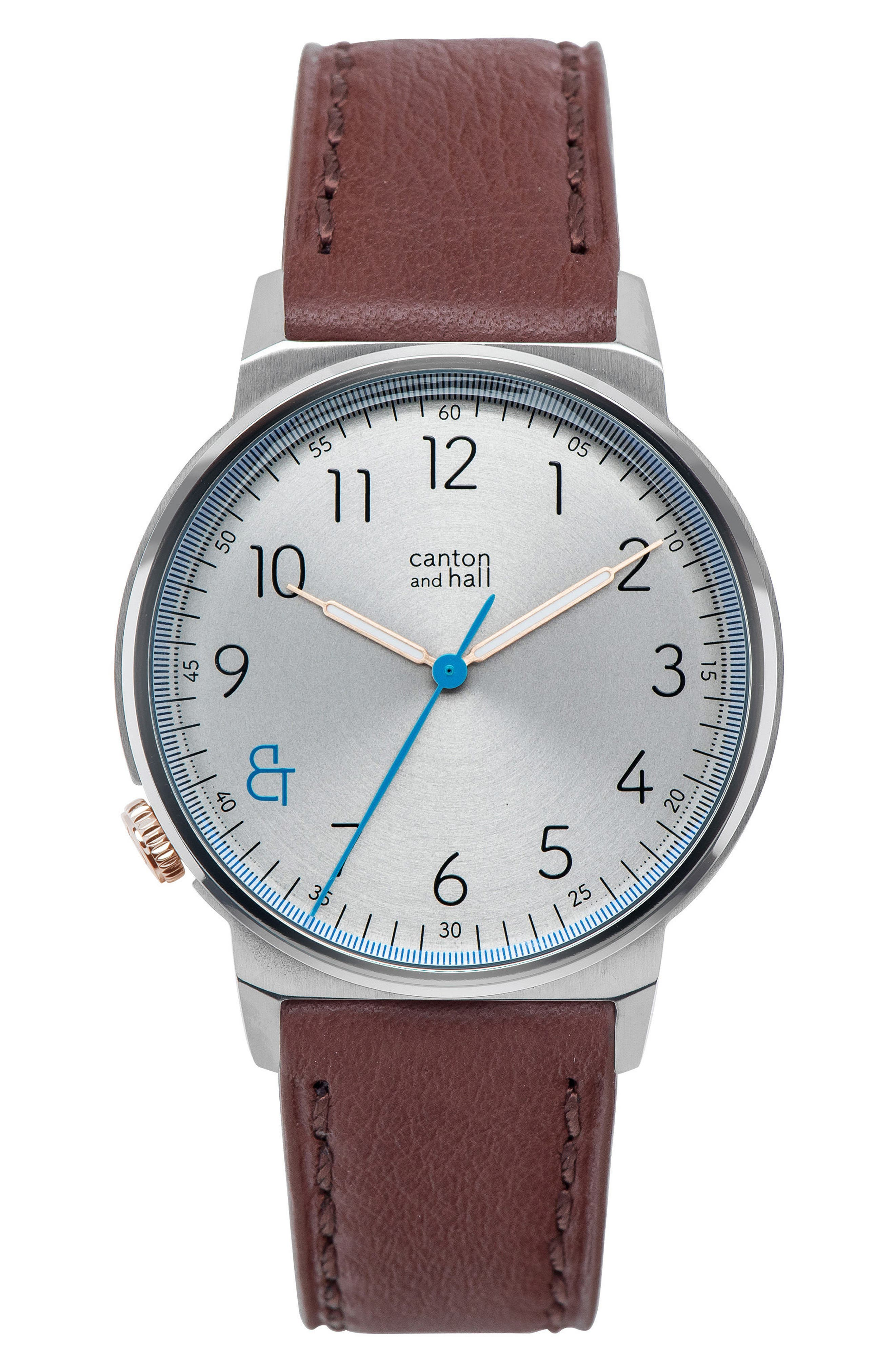 Leather Strap Watch, 40mm,                             Main thumbnail 1, color,                             Cream/ Brown