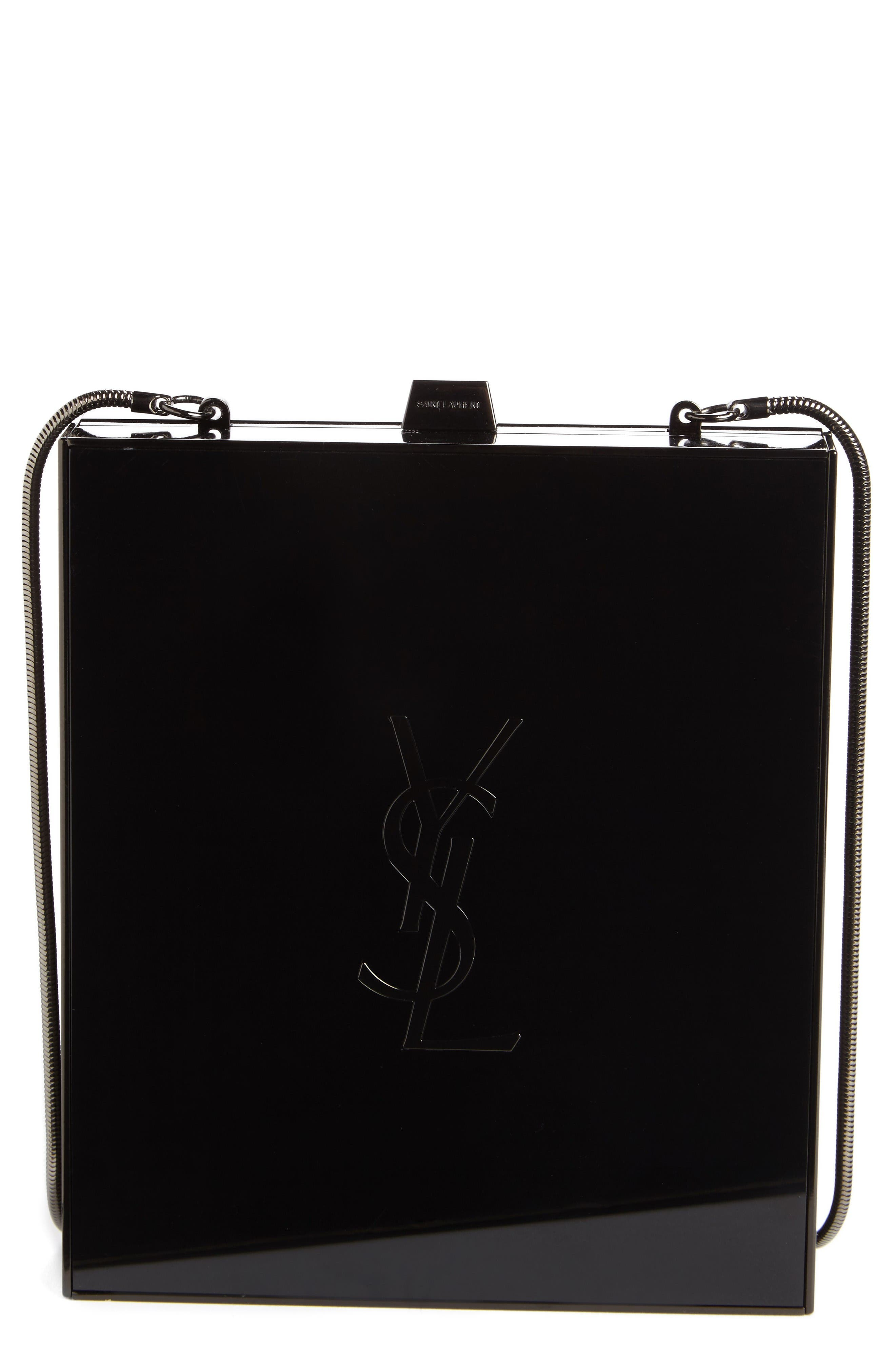 Main Image - Saint Laurent Tuxedo Plexiglass Clutch