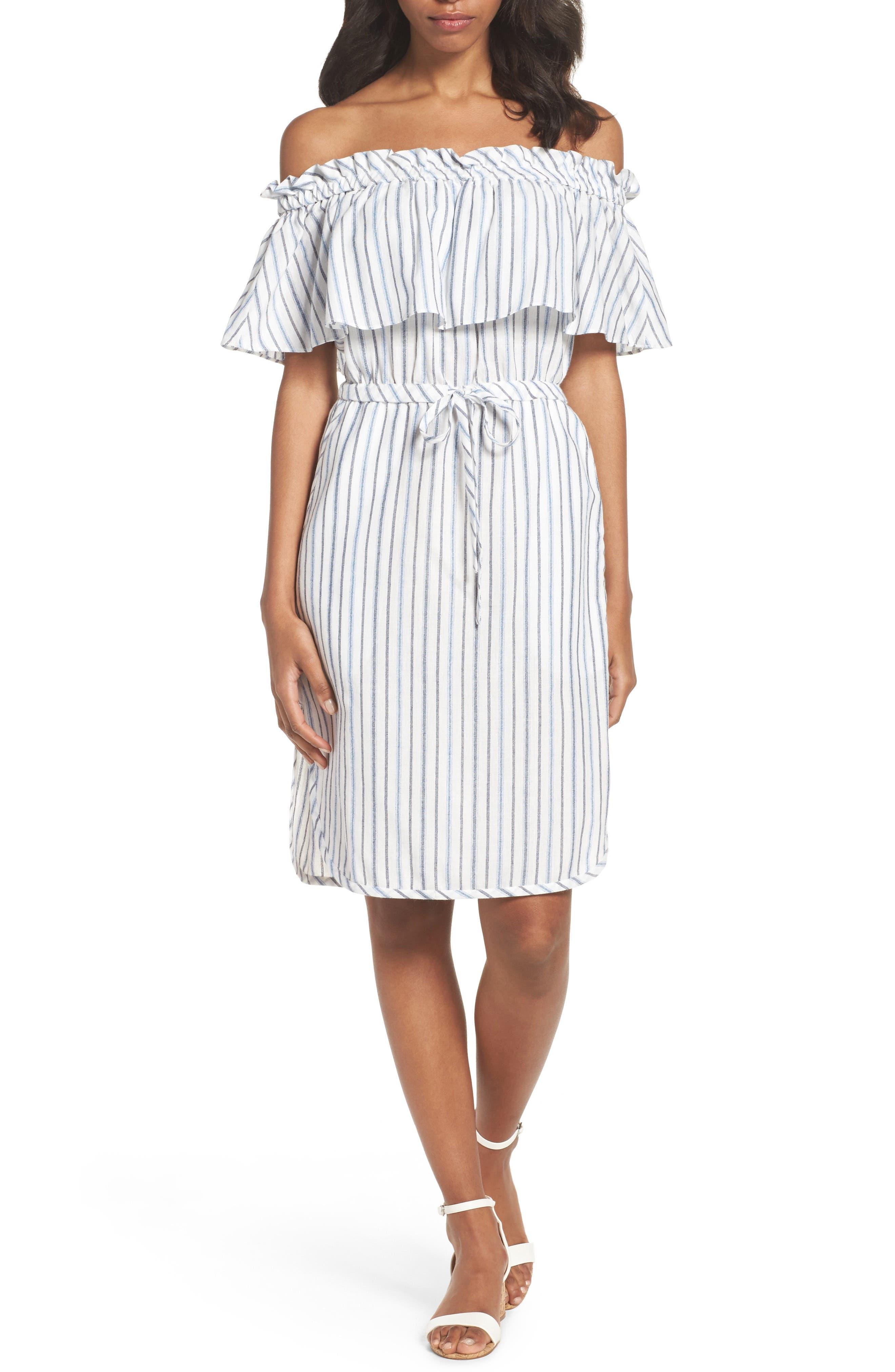 Alexis Off the Shoulder Dress,                         Main,                         color, White Combo