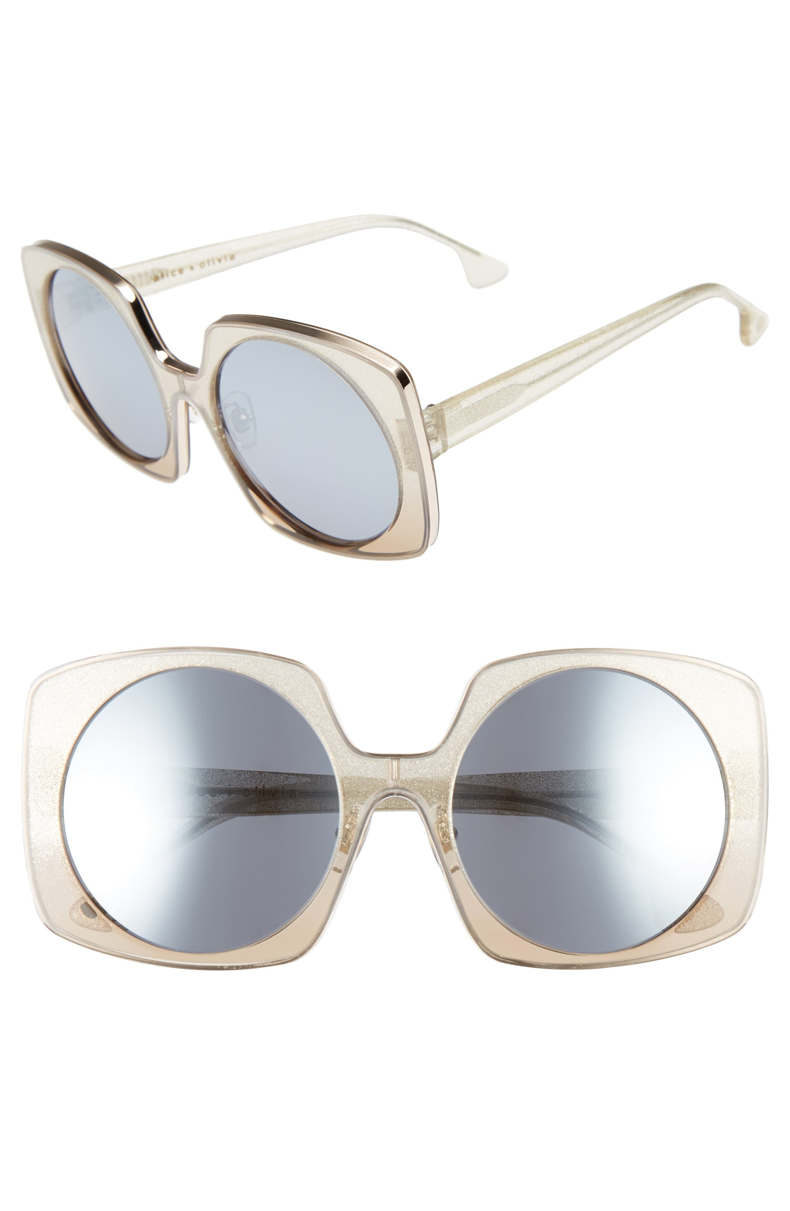 ALICE + OLIVIA Canton 55mm Special Fit Square Sunglasses