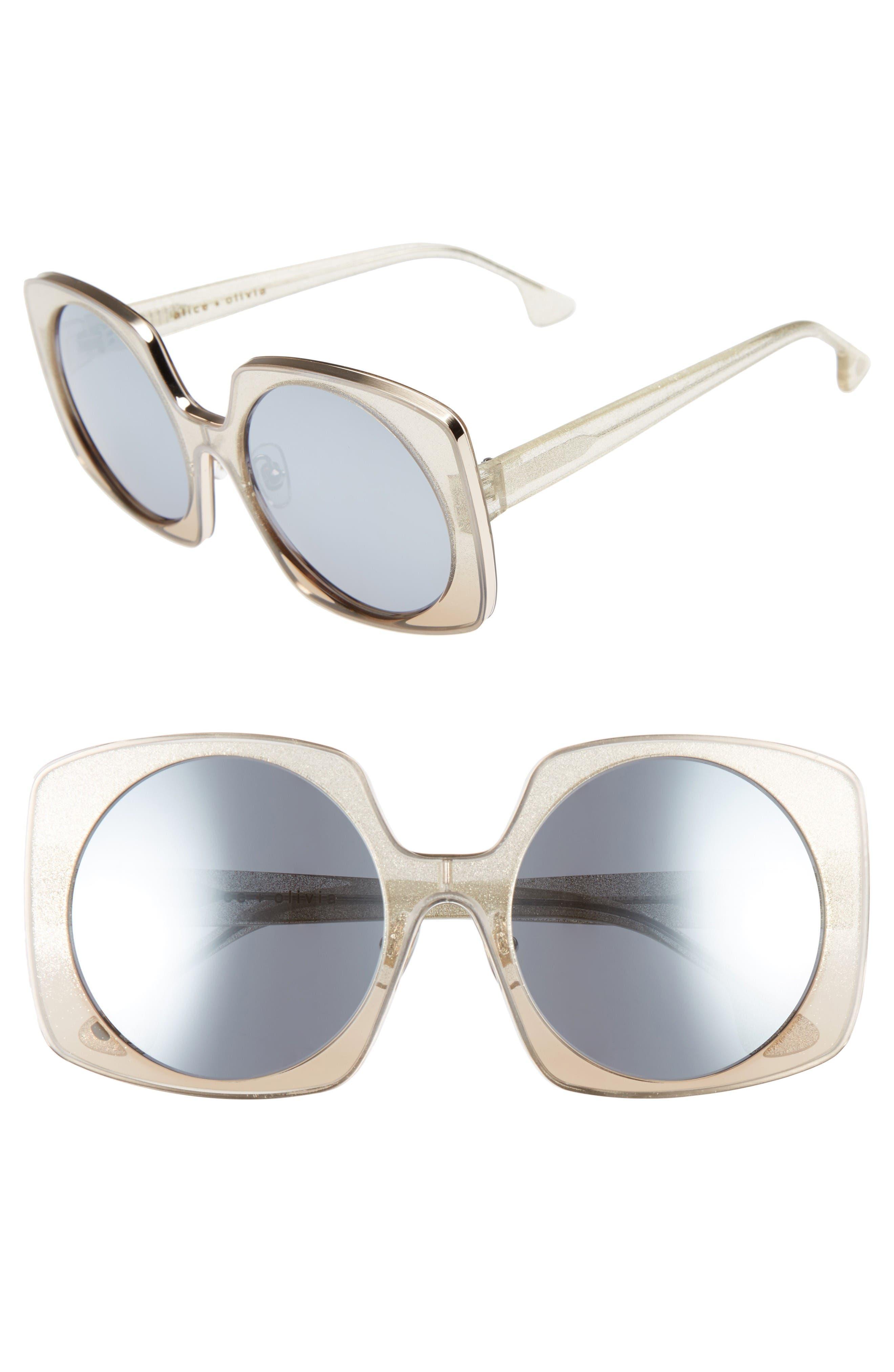 Main Image - Alice + Olivia Canton 55mm Special Fit Square Sunglasses