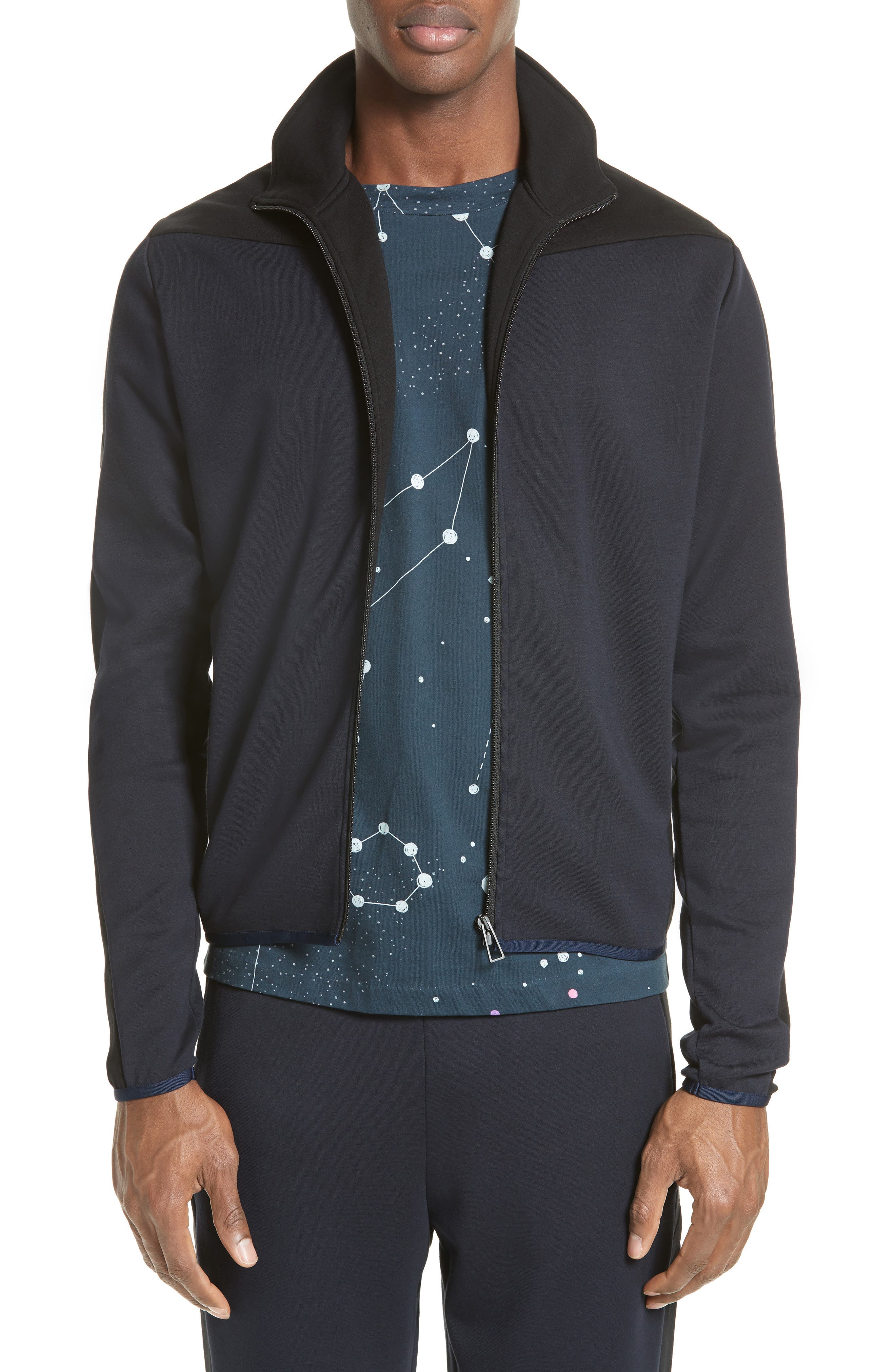 Two-Tone Track Jacket,                         Main,                         color, Navy