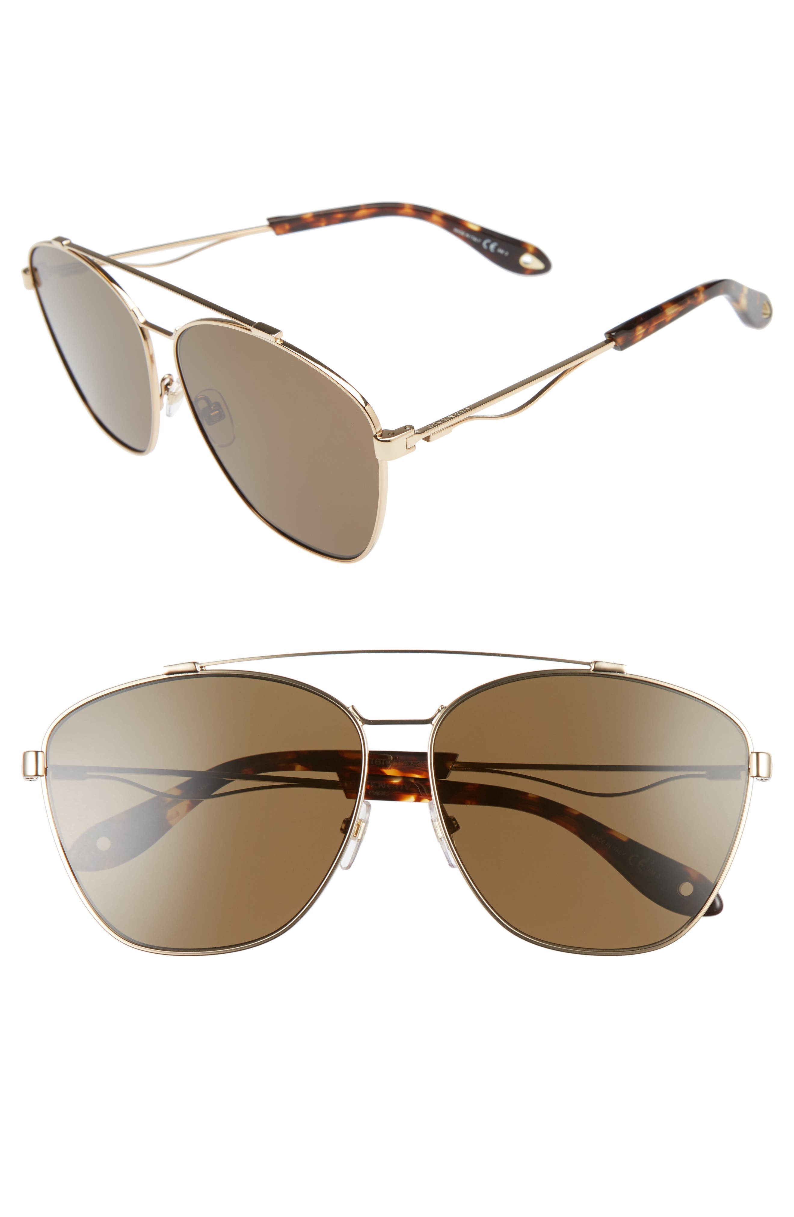 65mm Navigator Sunglasses,                         Main,                         color, Gold