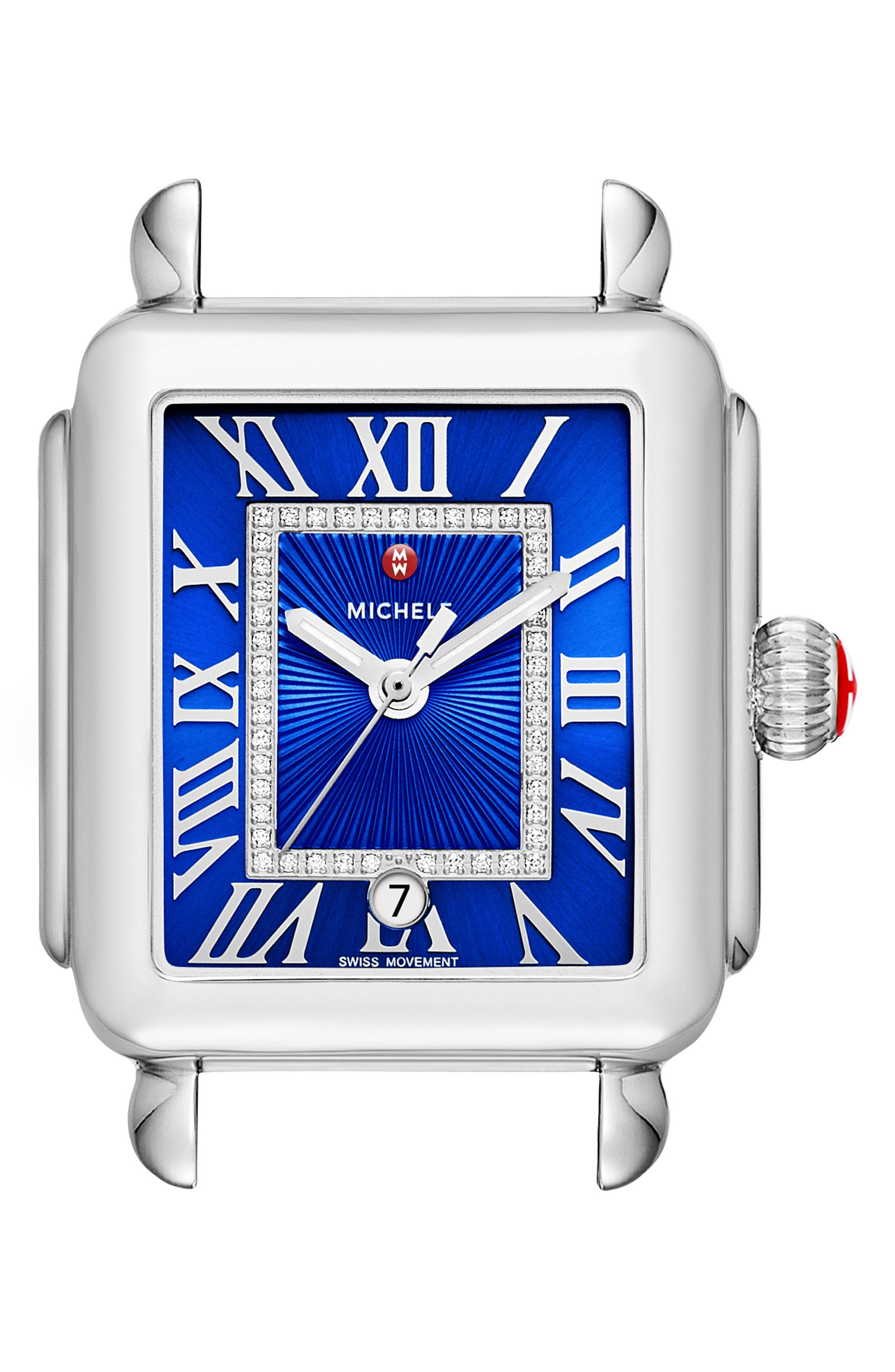 Deco Madison Diamond Dial Watch Case, 33mm x 35mm,                         Main,                         color, Silver/ Cobalt/ Silver