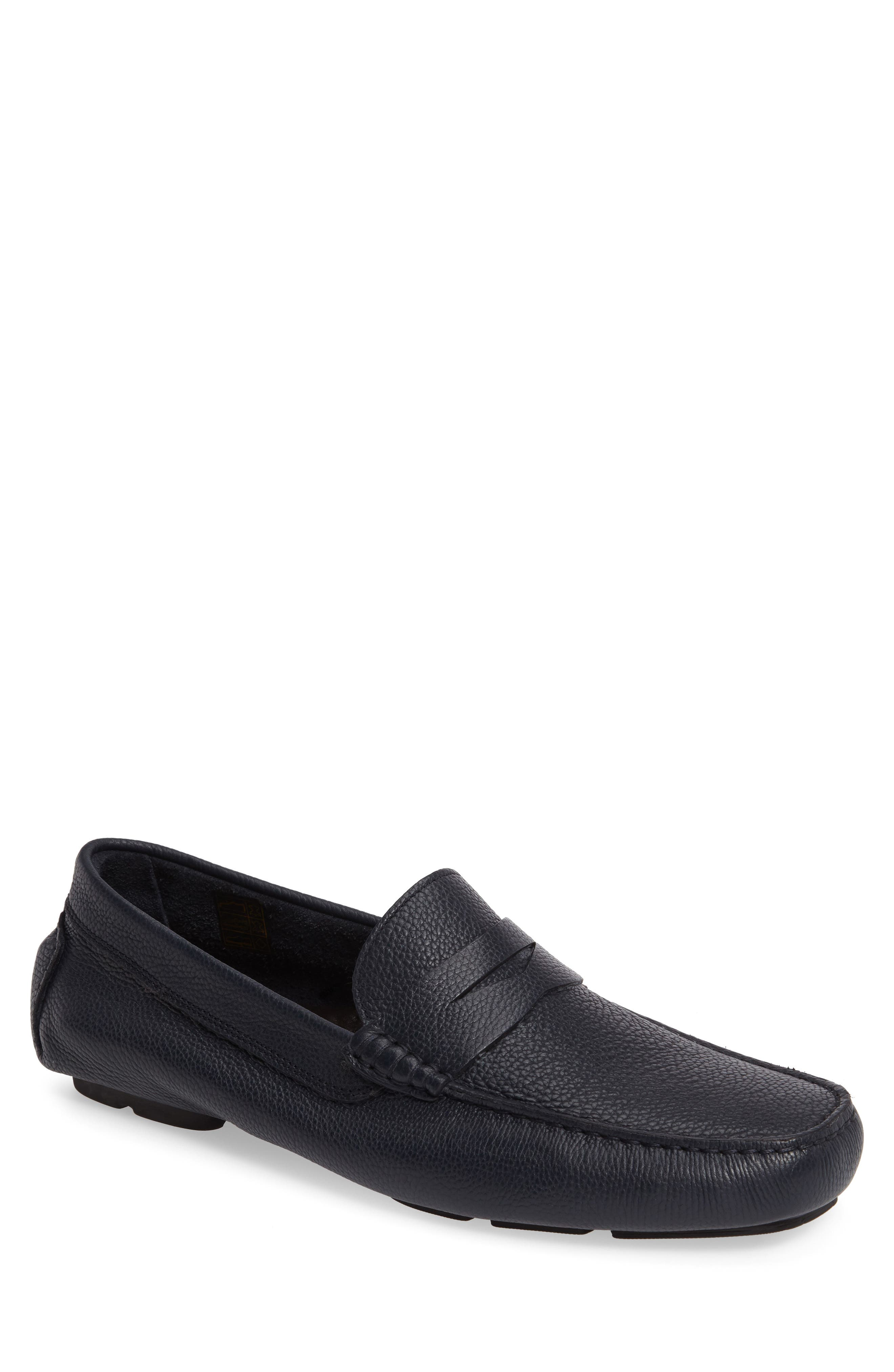Ashberry Driving Moccasin,                             Main thumbnail 1, color,                             Navy Leather