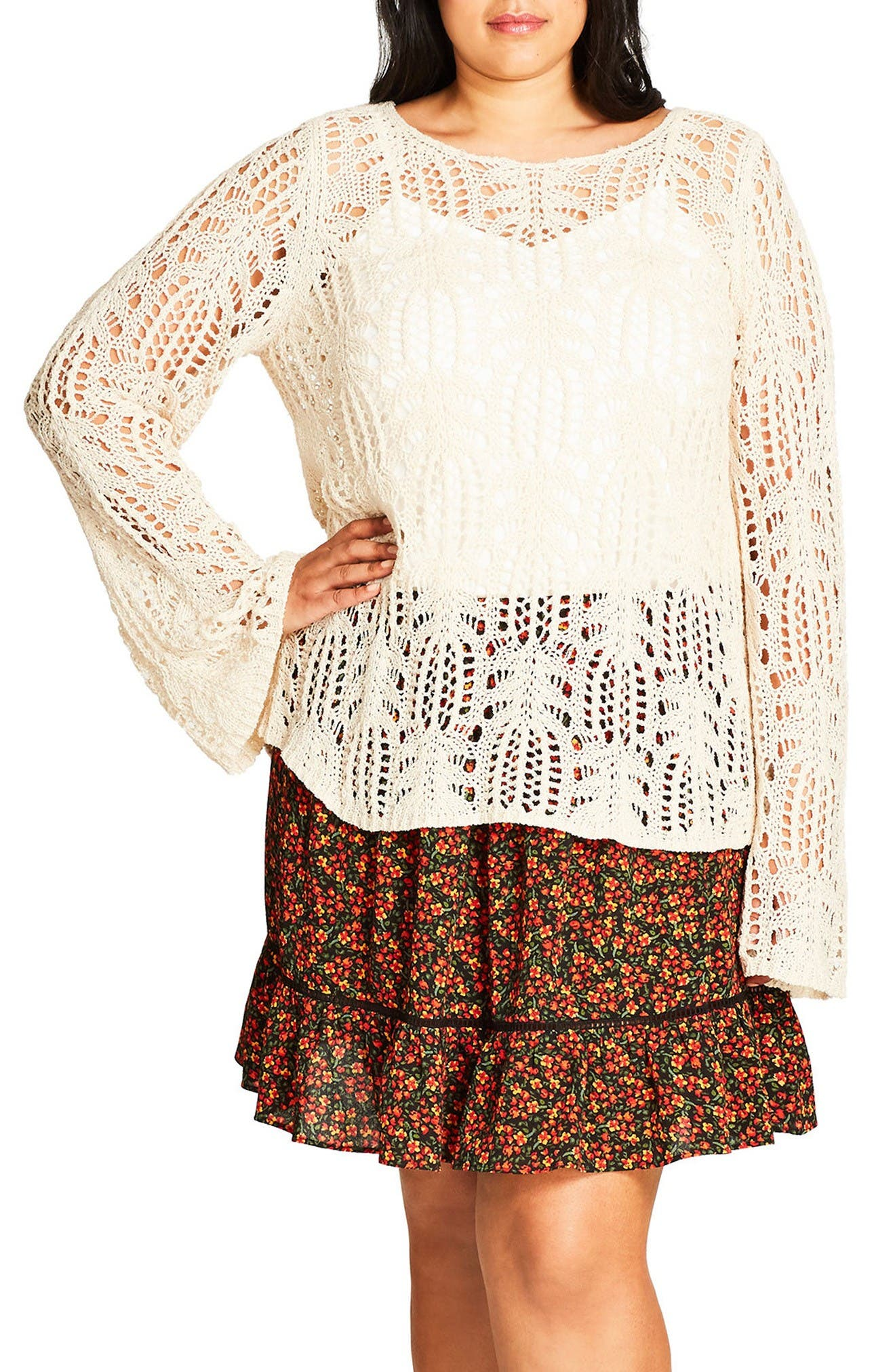 Alternate Image 1 Selected - City Chic So Delicate Crochet Sweater (Plus Size)