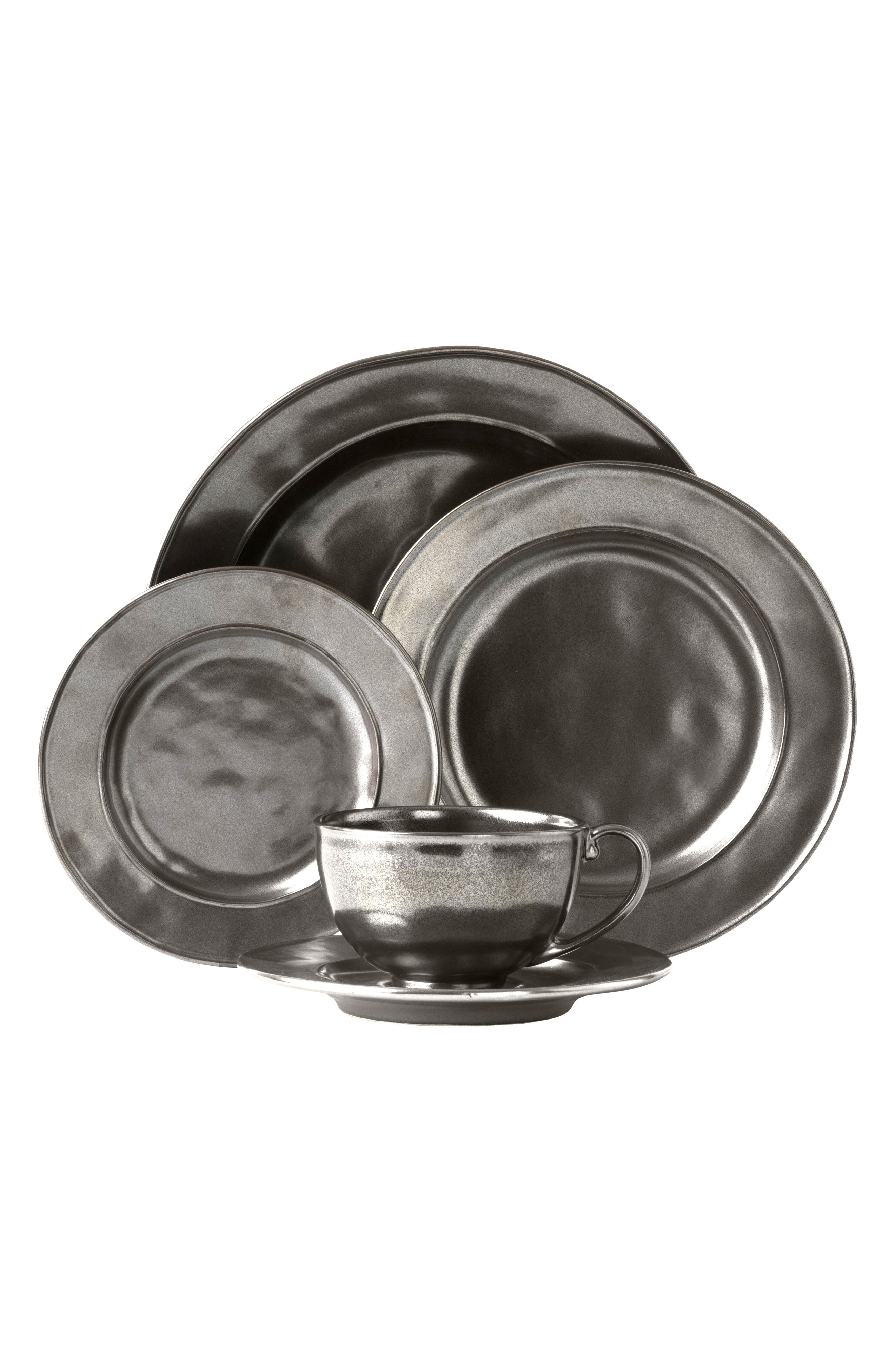 Pewter Stoneware 5-Piece Place Setting,                         Main,                         color, Pewter