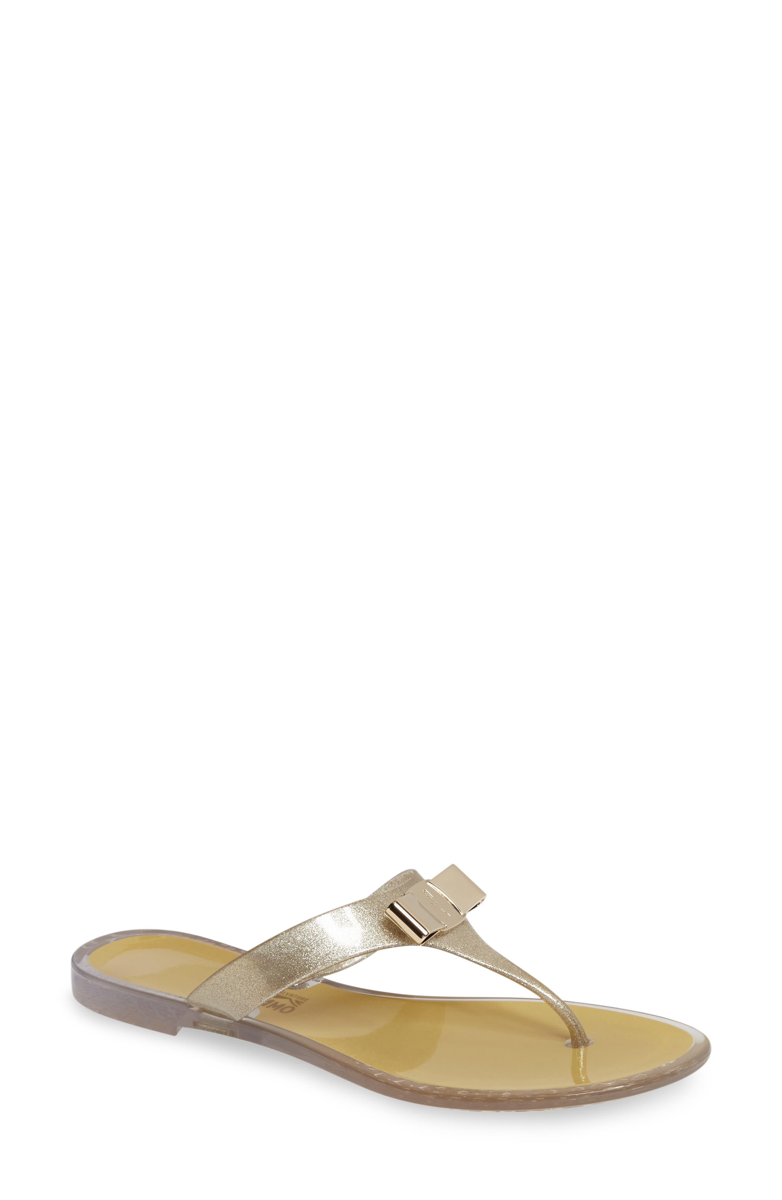 Jelly Flat Bow Sandal,                         Main,                         color, Beige Glitter Pvc