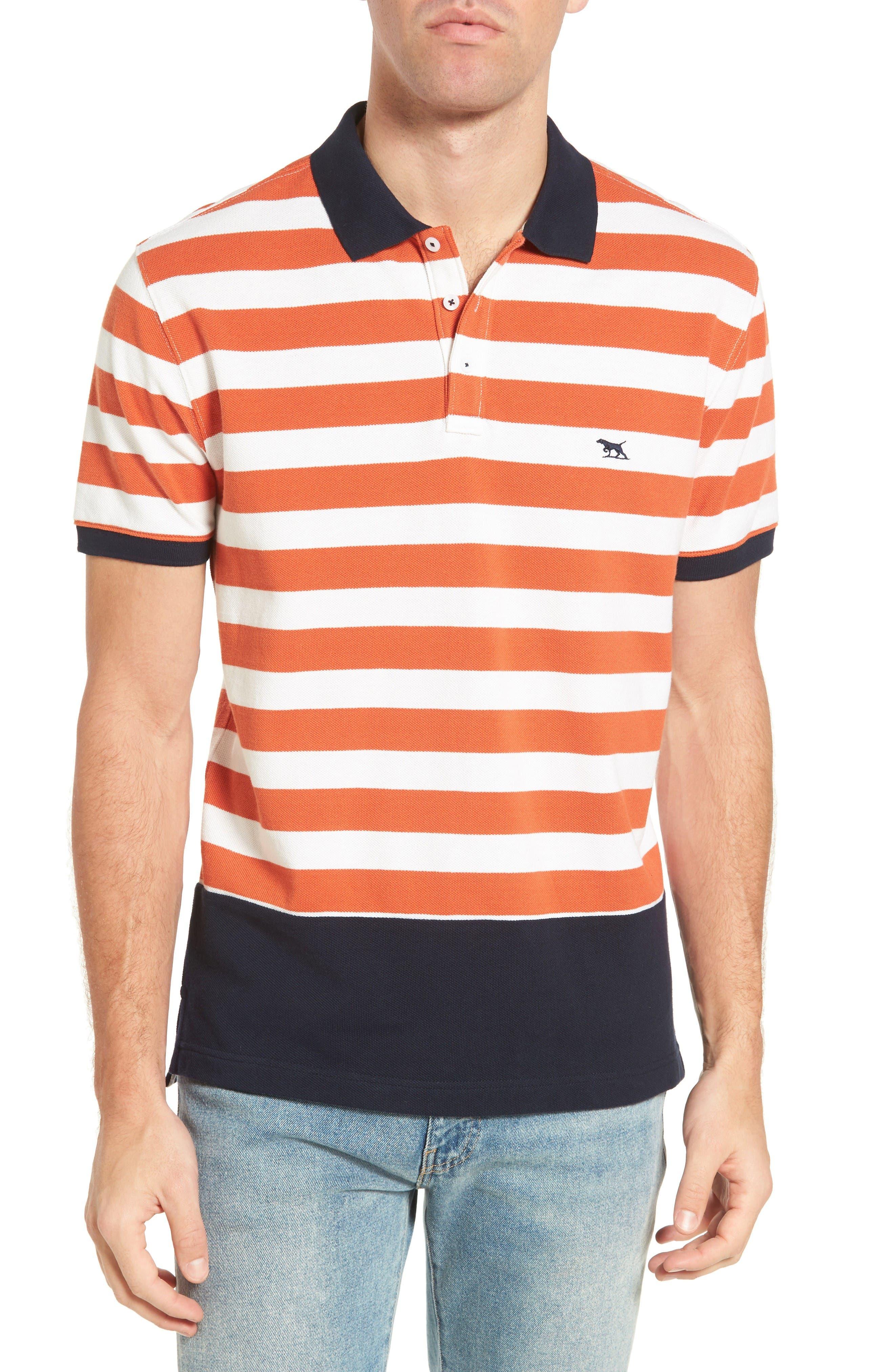 Wallingford Sport Fit Stripe Polo,                         Main,                         color, Ochre
