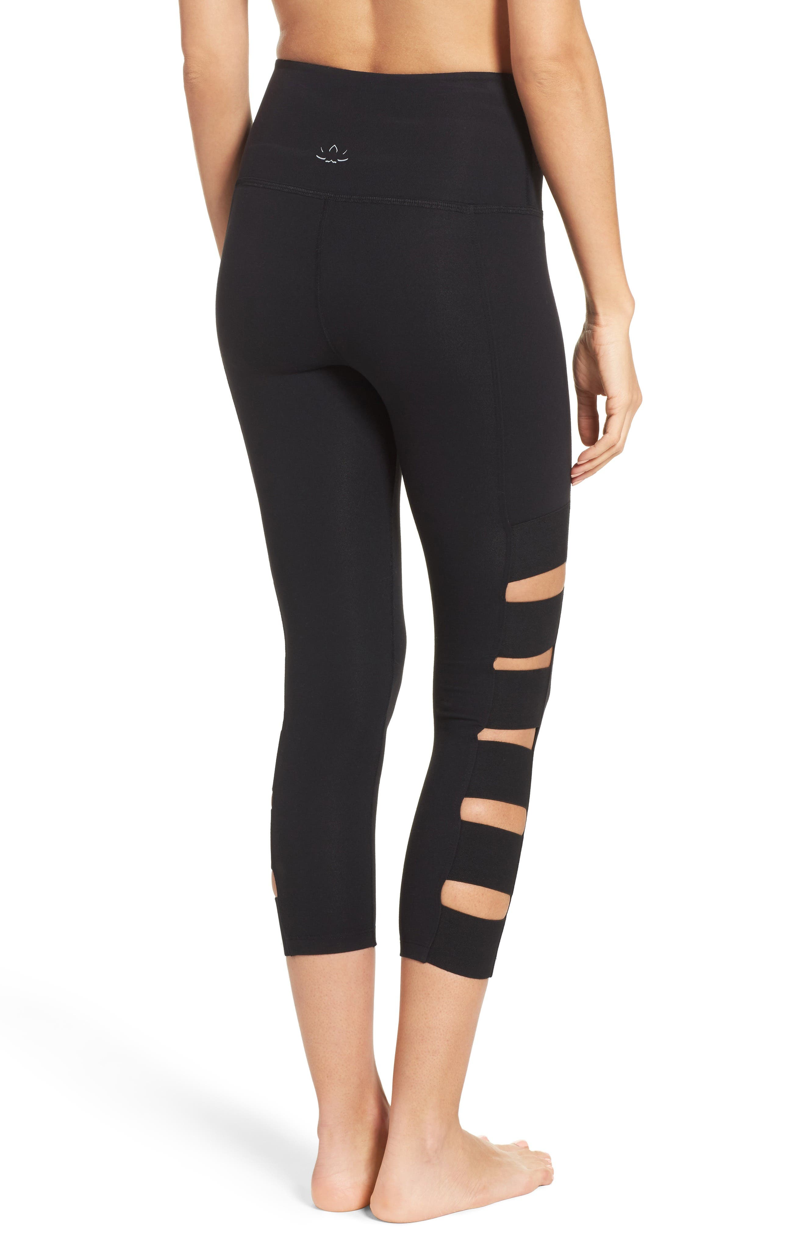 Wide Band Stacked Capris,                             Main thumbnail 1, color,                             Jet Black