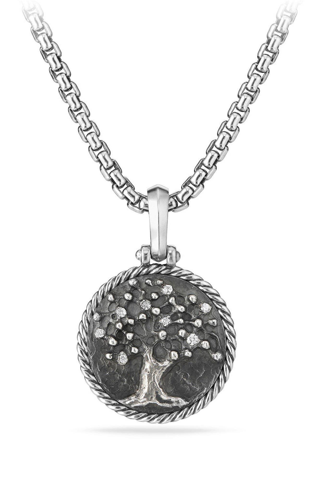 Tree of Life Diamond Amulet,                             Main thumbnail 1, color,                             Silver