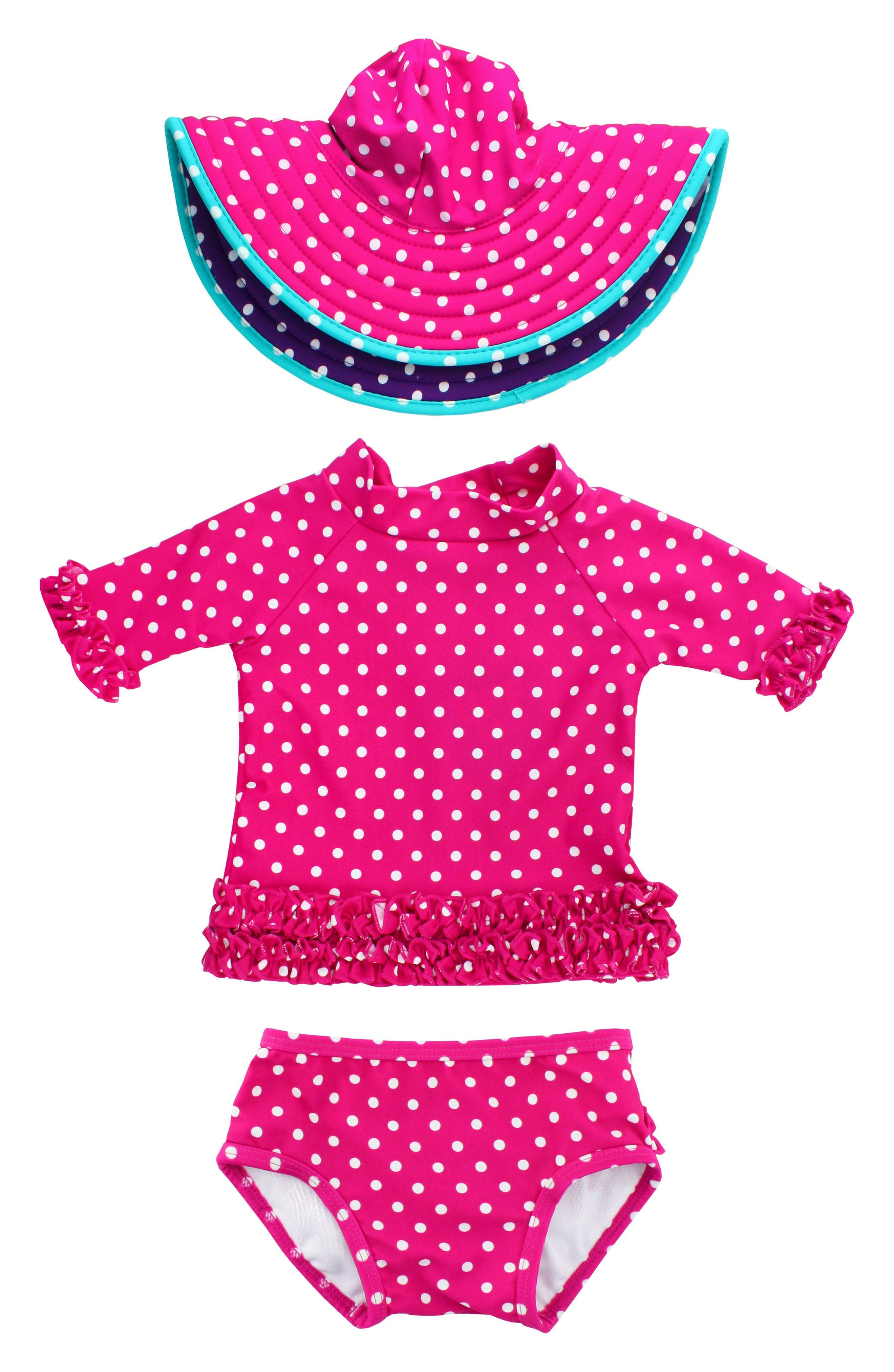 Main Image - RuffleButts Two-Piece Rashguard Swimsuit & Hat Set (Baby Girls)