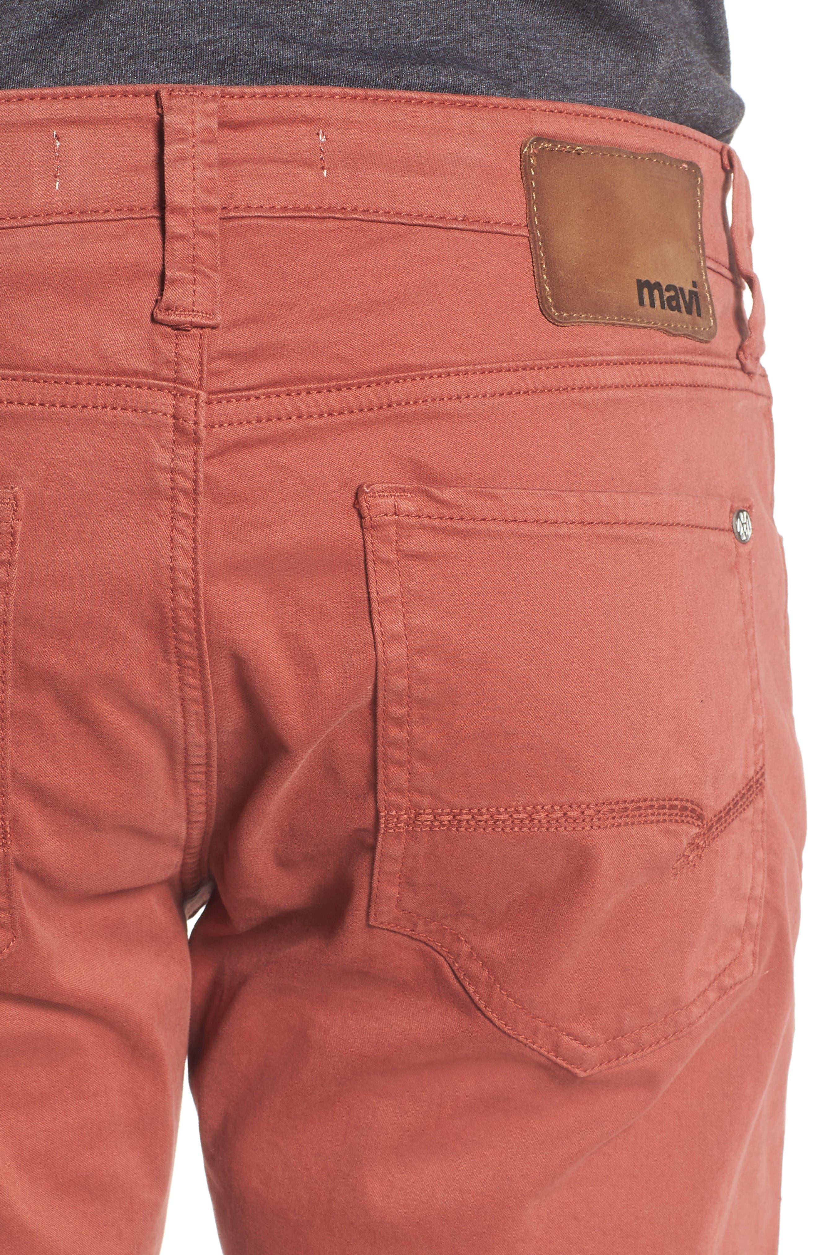 Alternate Image 4  - Mavi Jeans Zach Straight Leg Jeans (Brick Red Twill)
