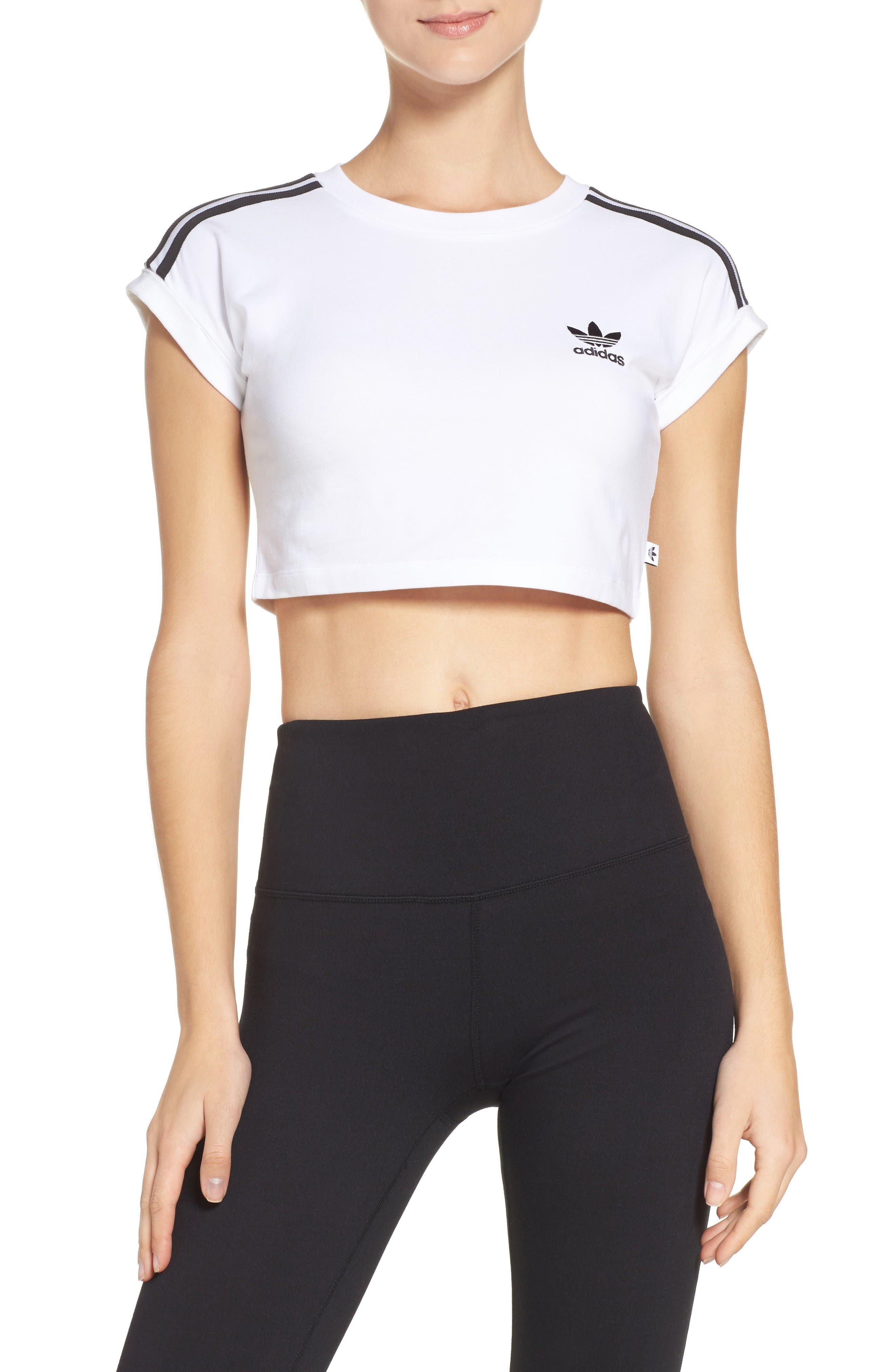 Alternate Image 1 Selected - adidas 3-Stripes Crop Top