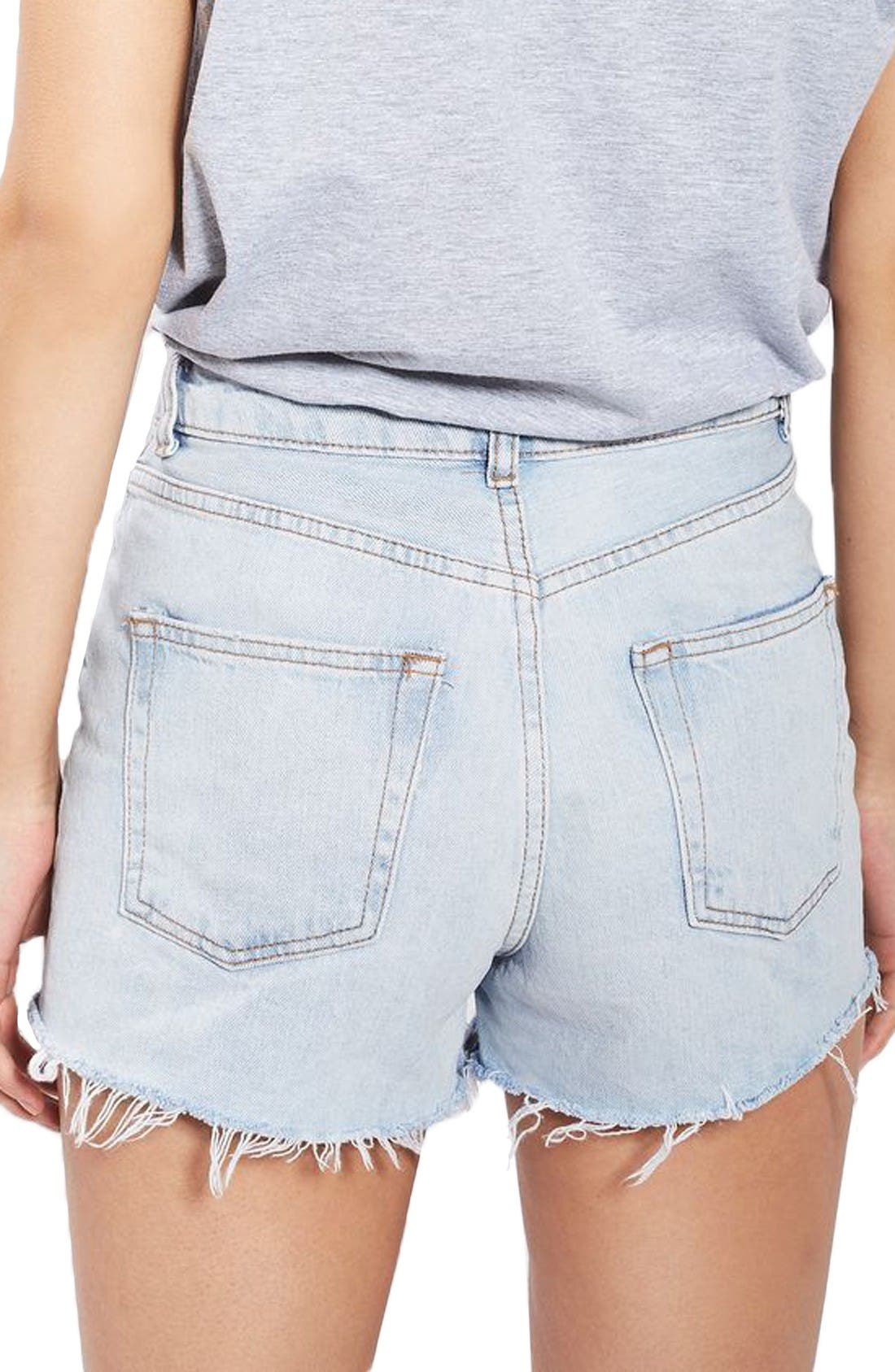 Alternate Image 3  - Topshop Longline Denim Mom Shorts