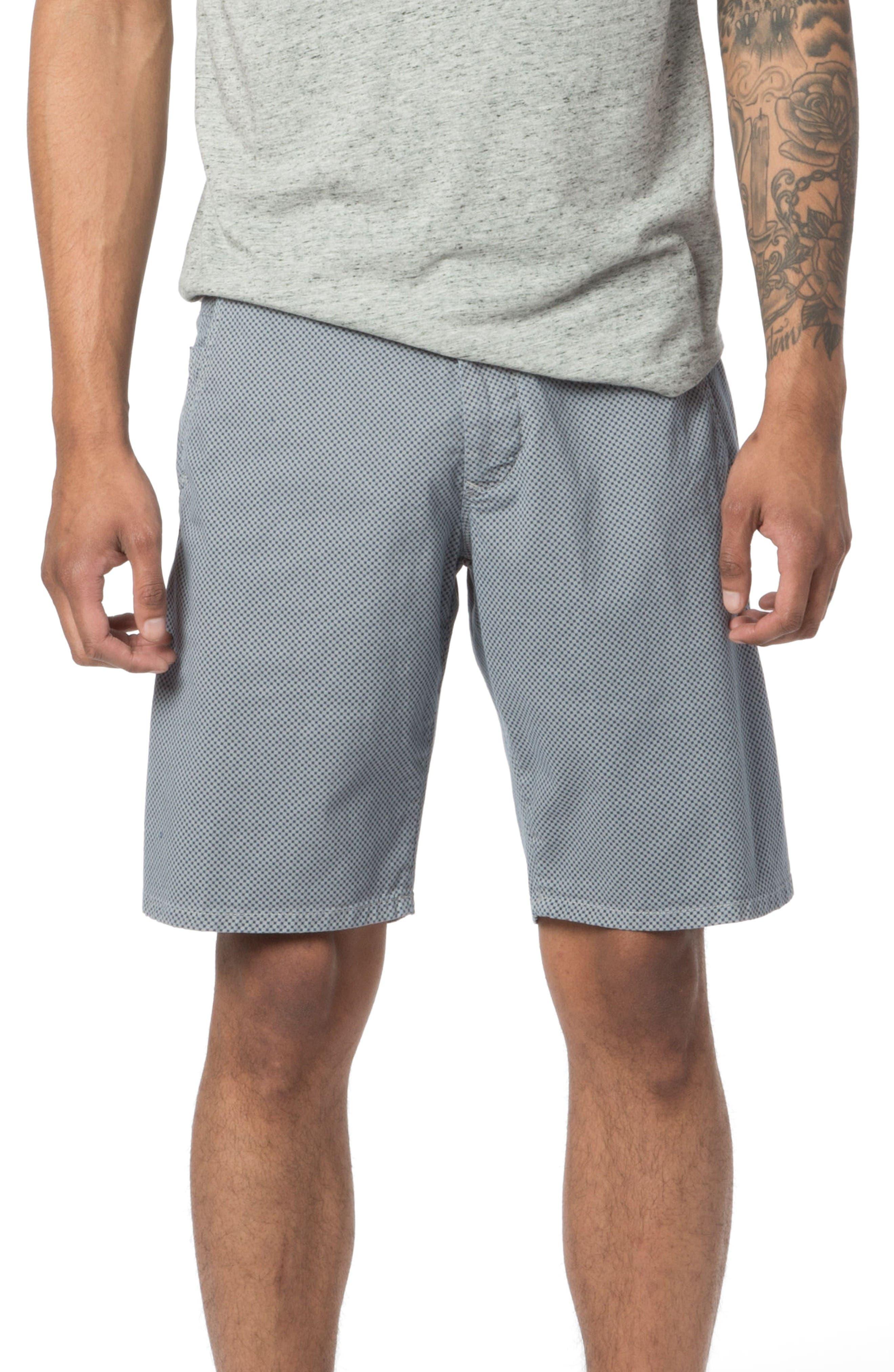 Modern Fit Micro Pattern Chino Shorts,                             Main thumbnail 1, color,                             Alloy Micro Cross Dot