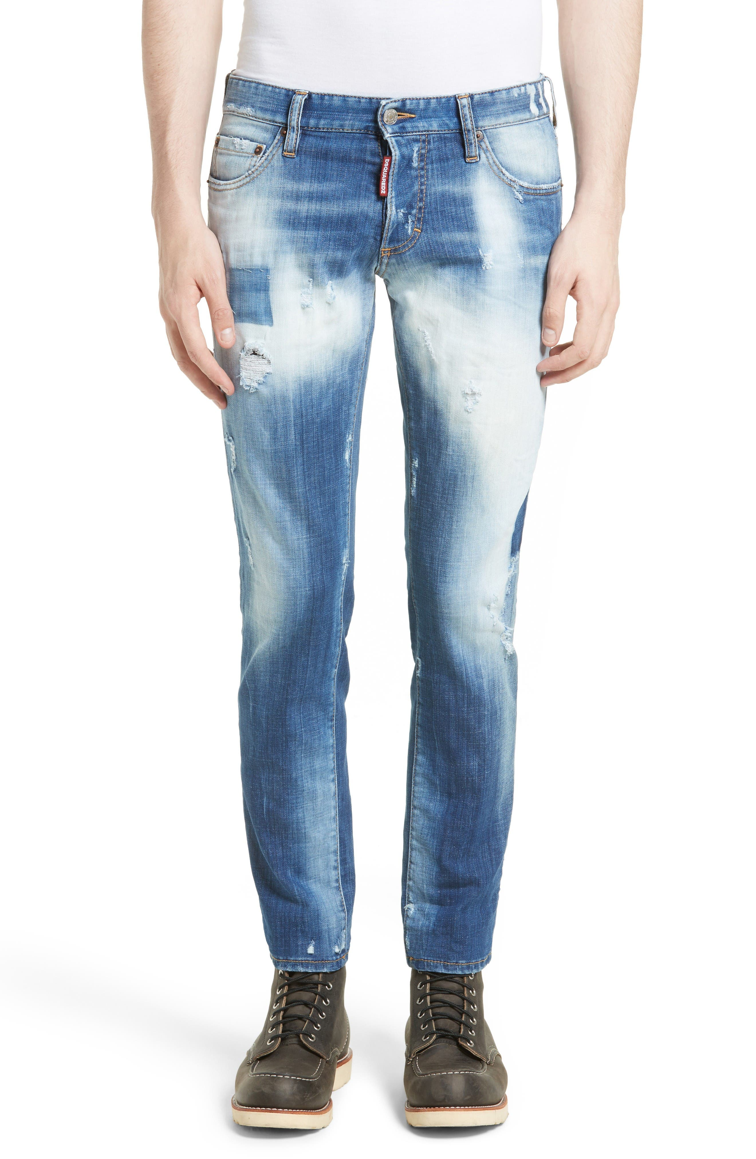 Fade Out Slim Fit Jeans,                             Main thumbnail 1, color,                             Blue
