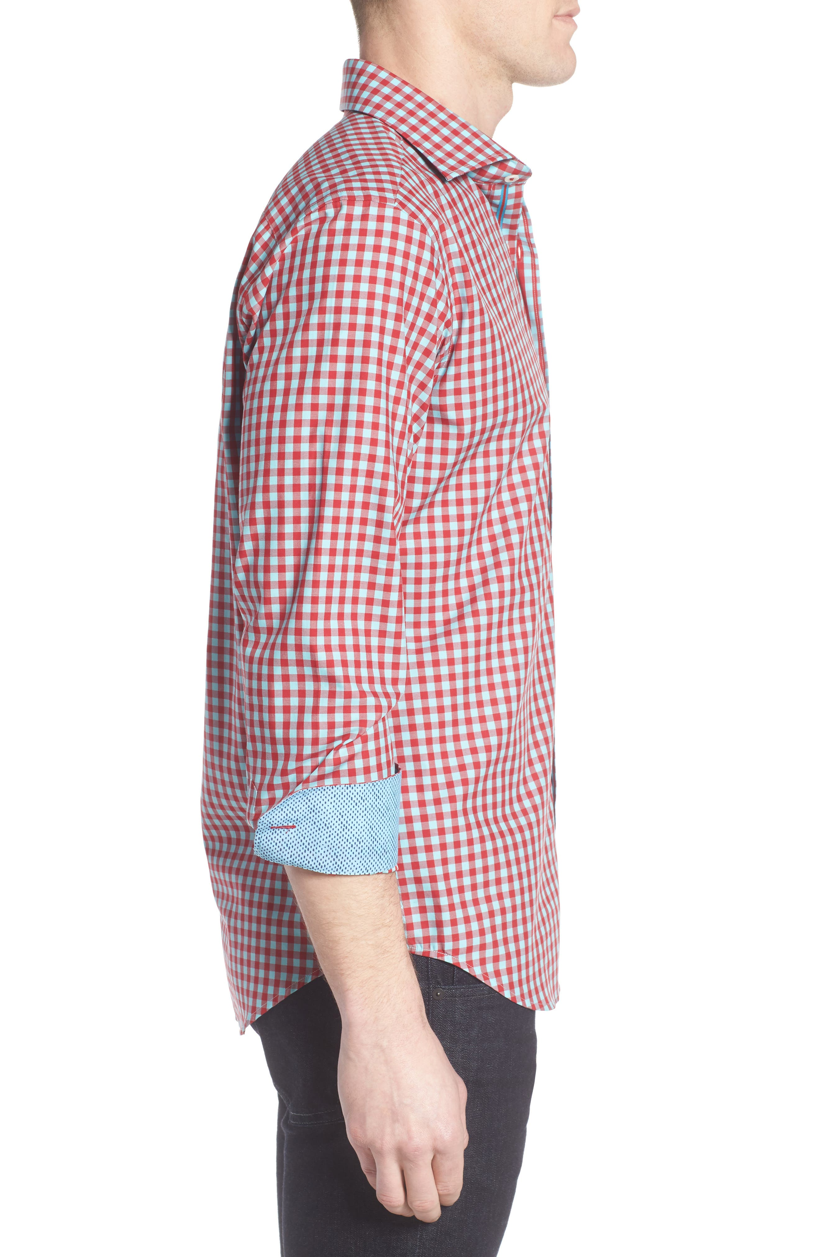 Shaped Fit Gingham Sport Shirt,                             Alternate thumbnail 3, color,                             Ruby