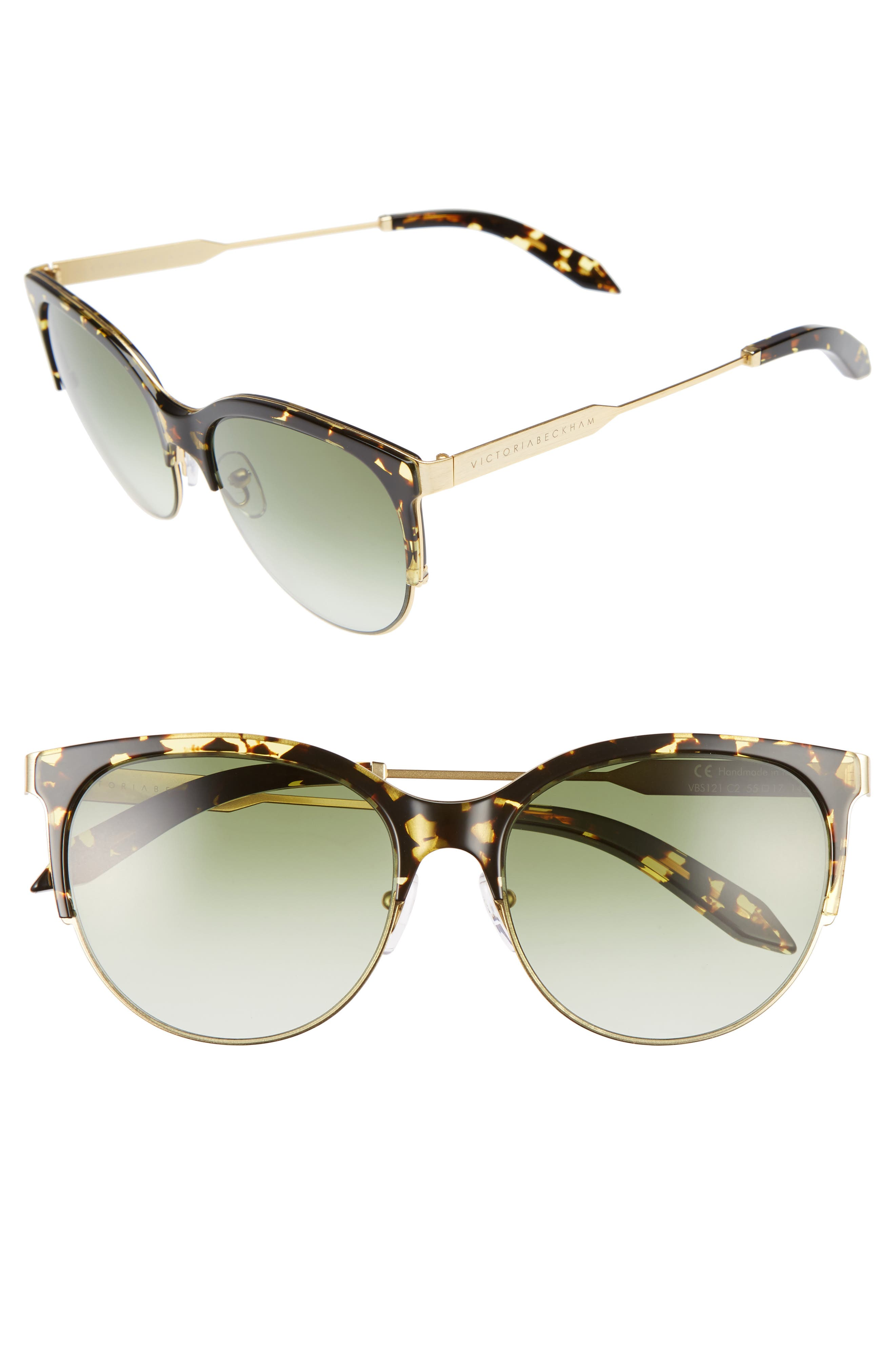 Main Image - Victoria Beckham Layered Combination Kitten 55mm Sunglasses