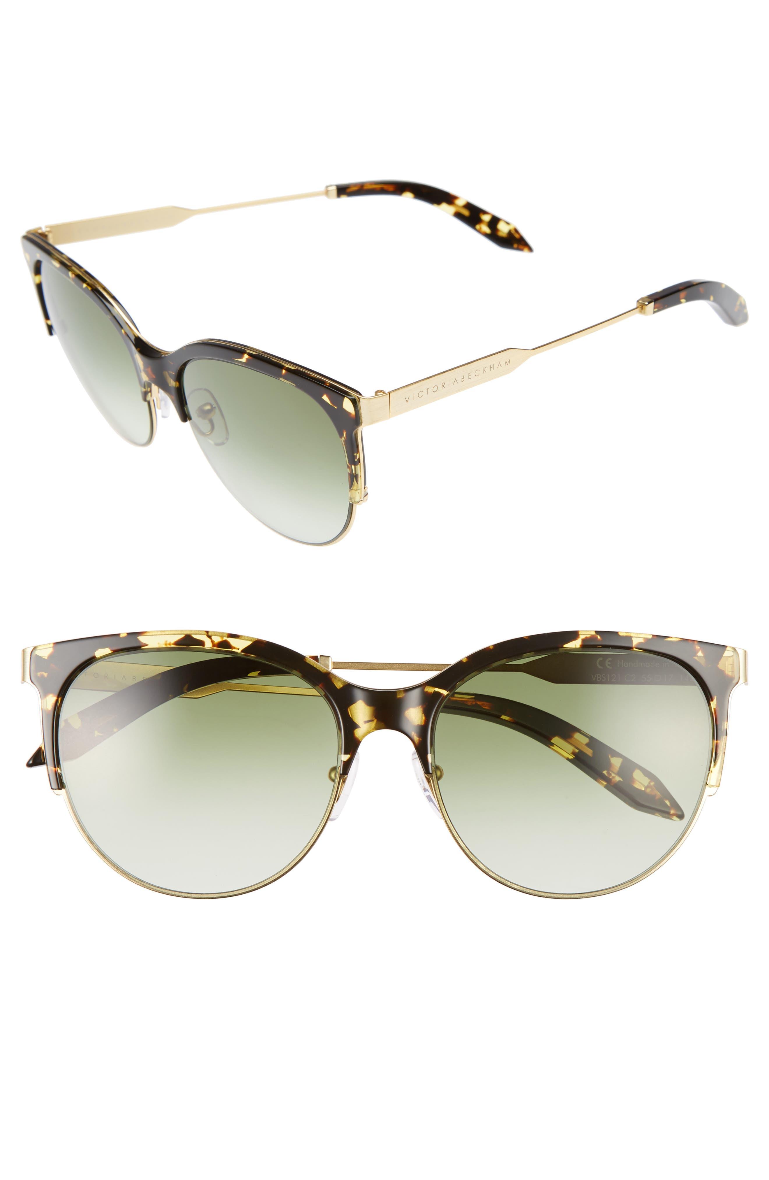 Layered Combination Kitten 55mm Sunglasses,                         Main,                         color, Amber Tortoise Shell