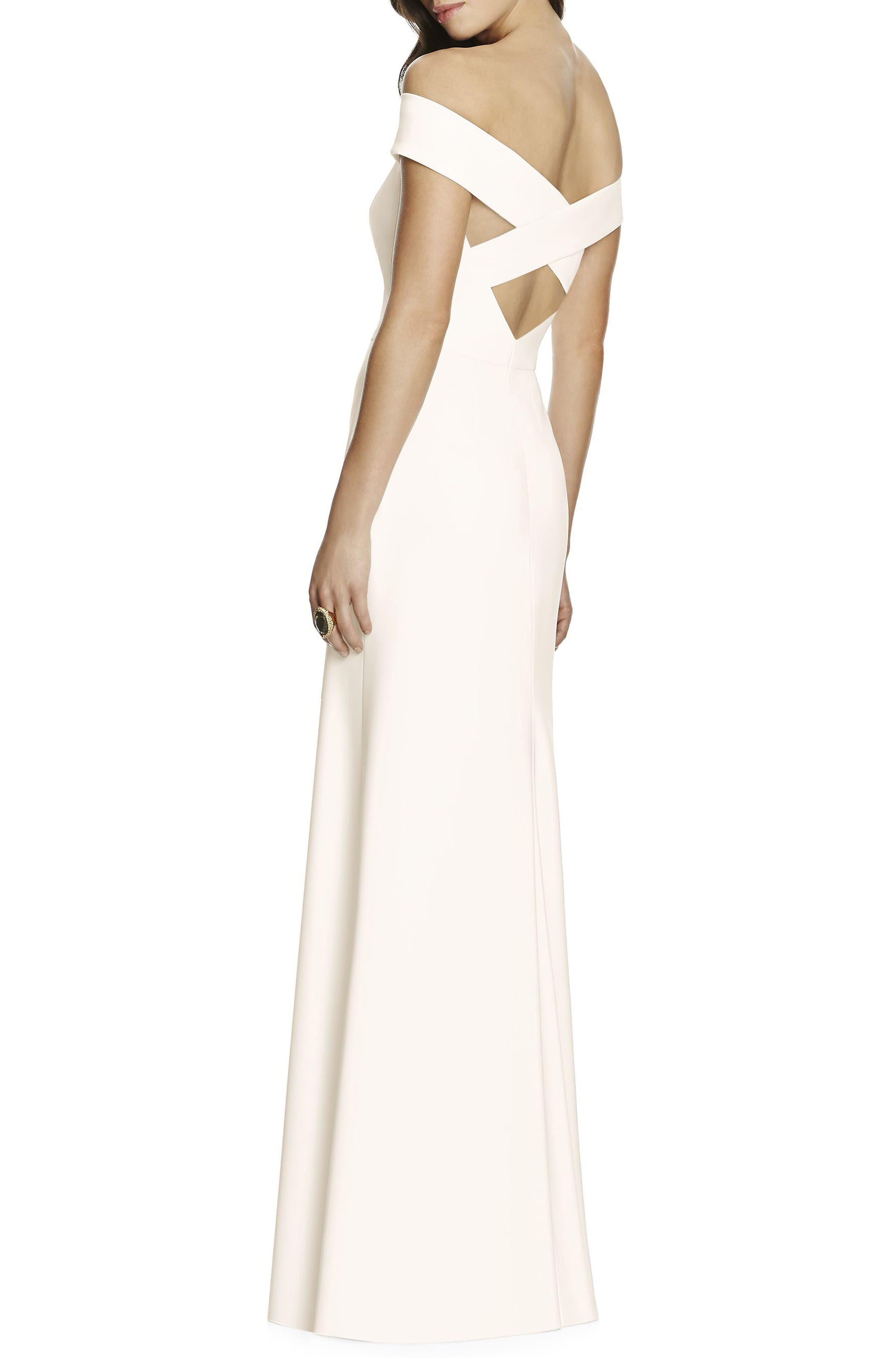 Alternate Image 2  - Dessy Collection Off the Shoulder Crepe Gown