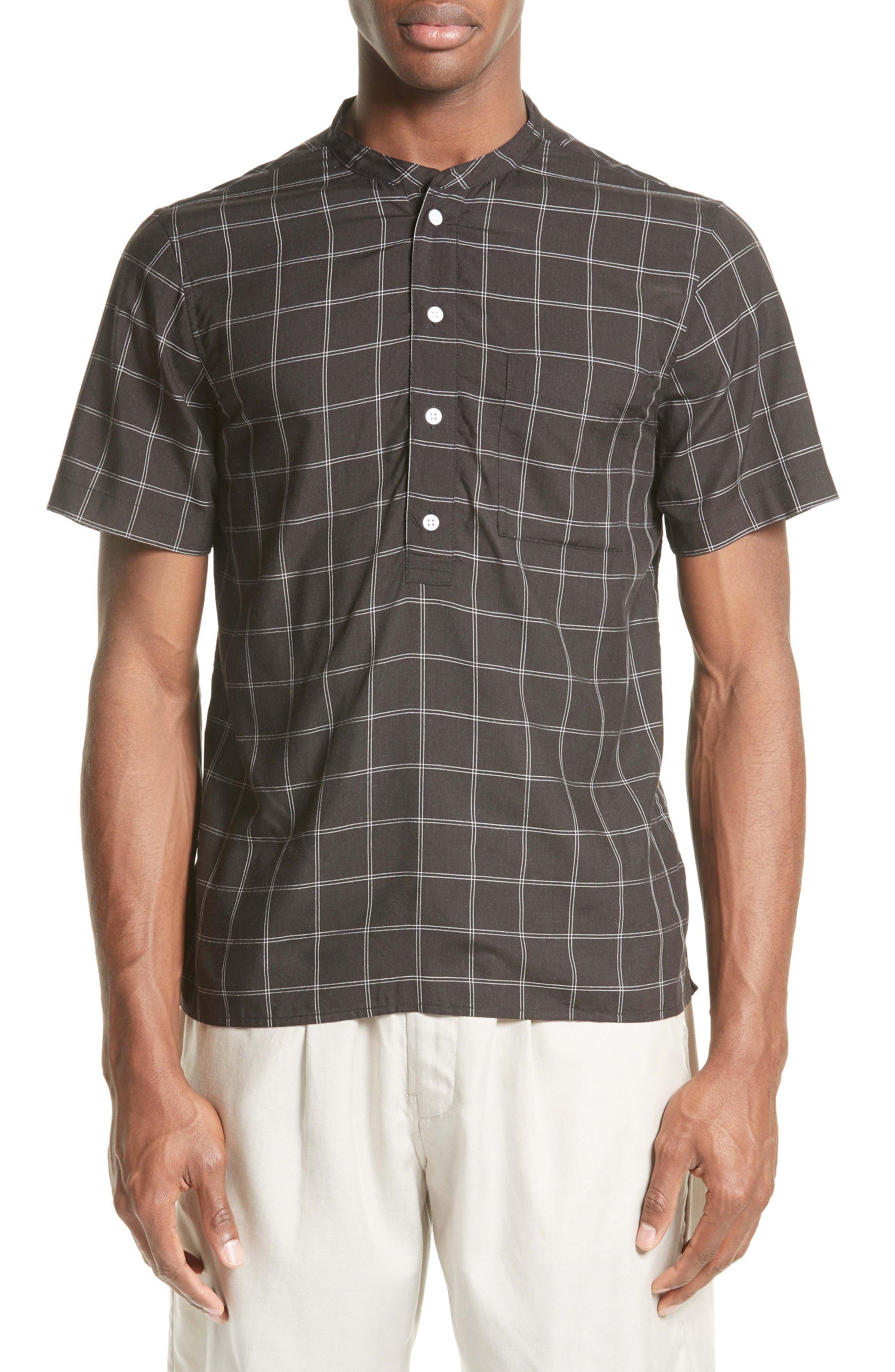 Saturdays NYC Dimitri Windowpane Band Collar Shirt