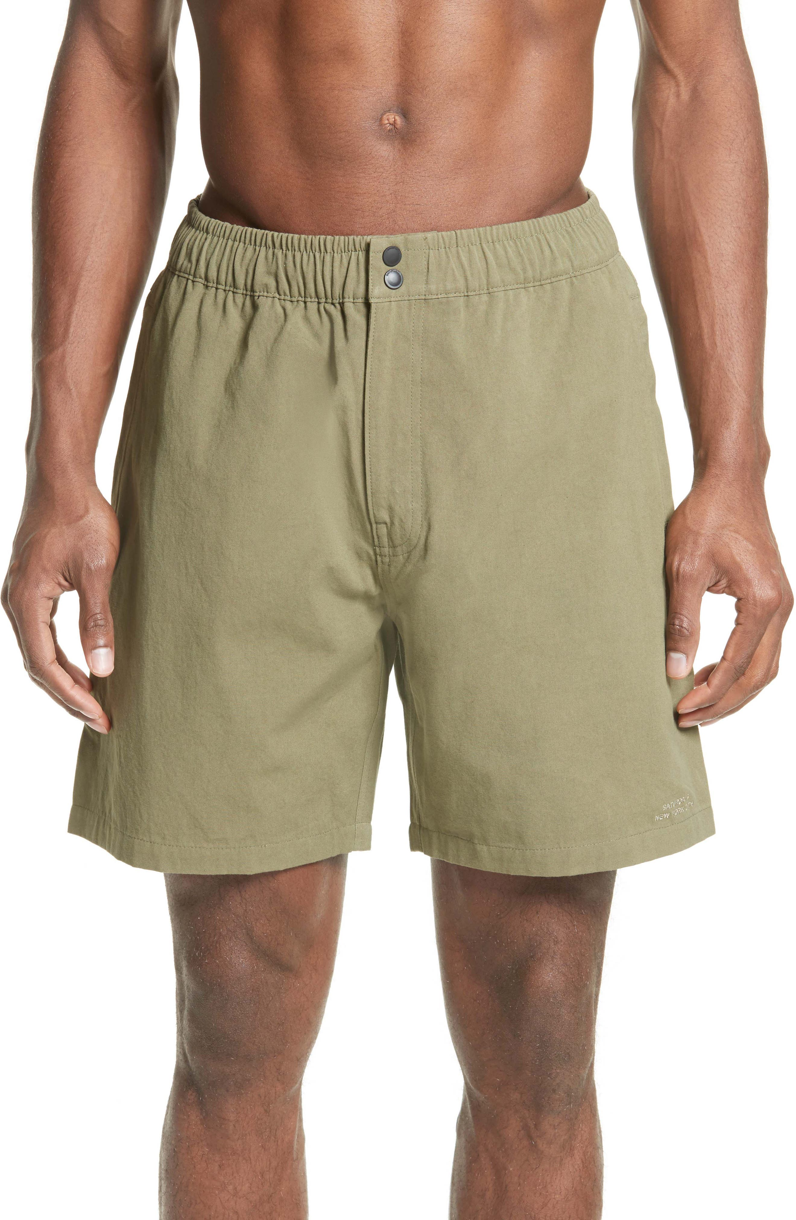 Trent Cotton Canvas Swim Trunks,                         Main,                         color, Sage