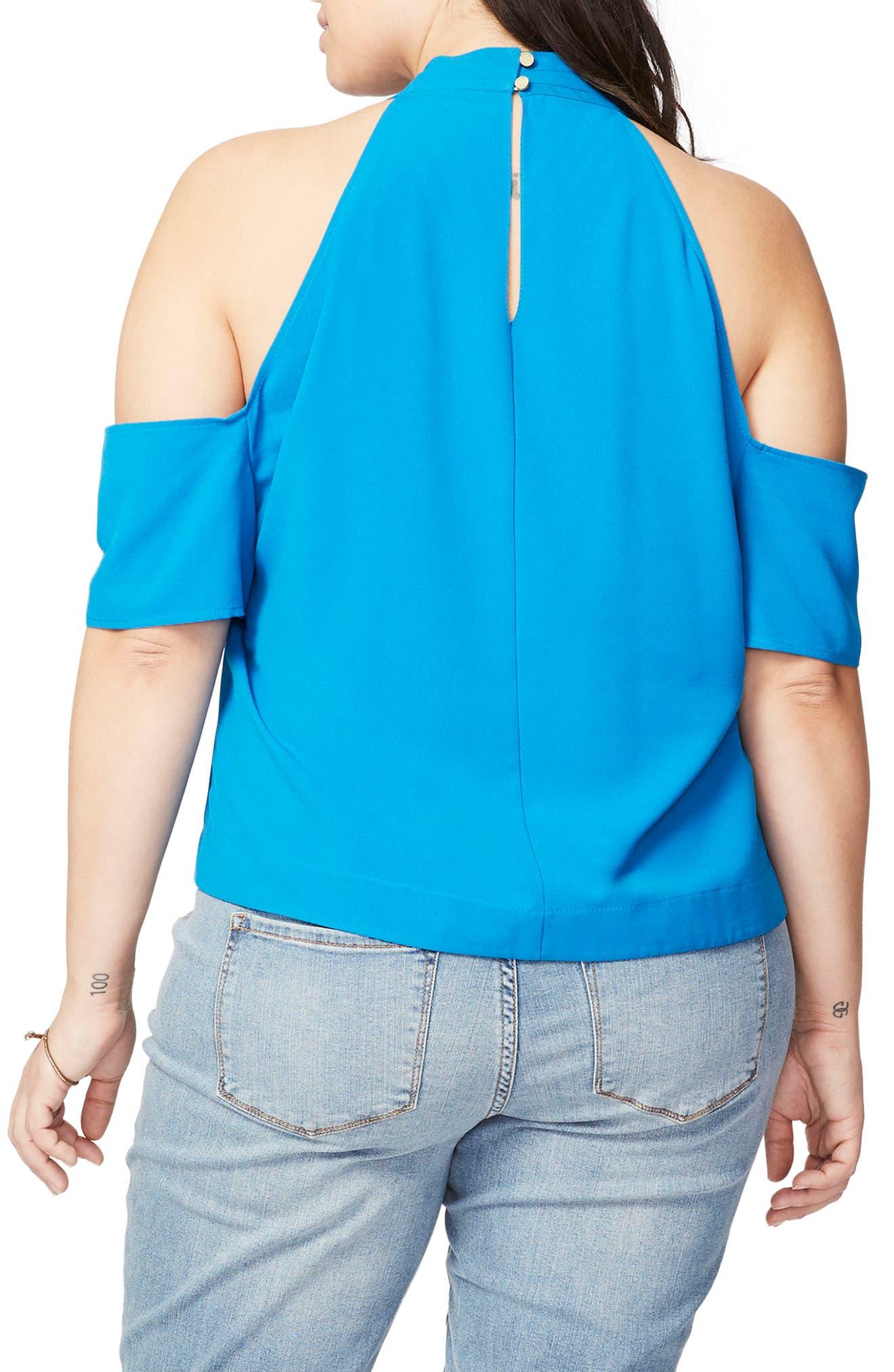 Alternate Image 2  - Rachel Roy Cold Shoulder Crisscross Top (Plus Size)