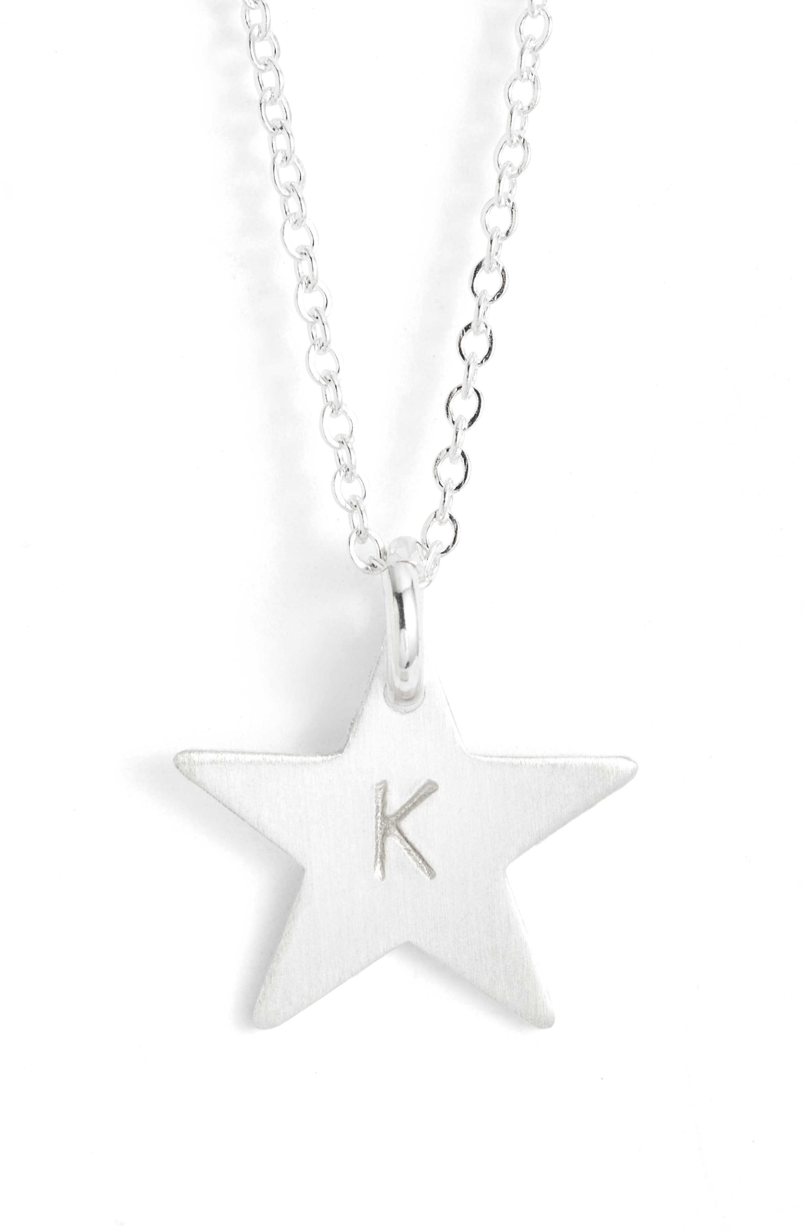 Sterling Silver Initial Mini Star Pendant Necklace,                         Main,                         color, Silver/ K