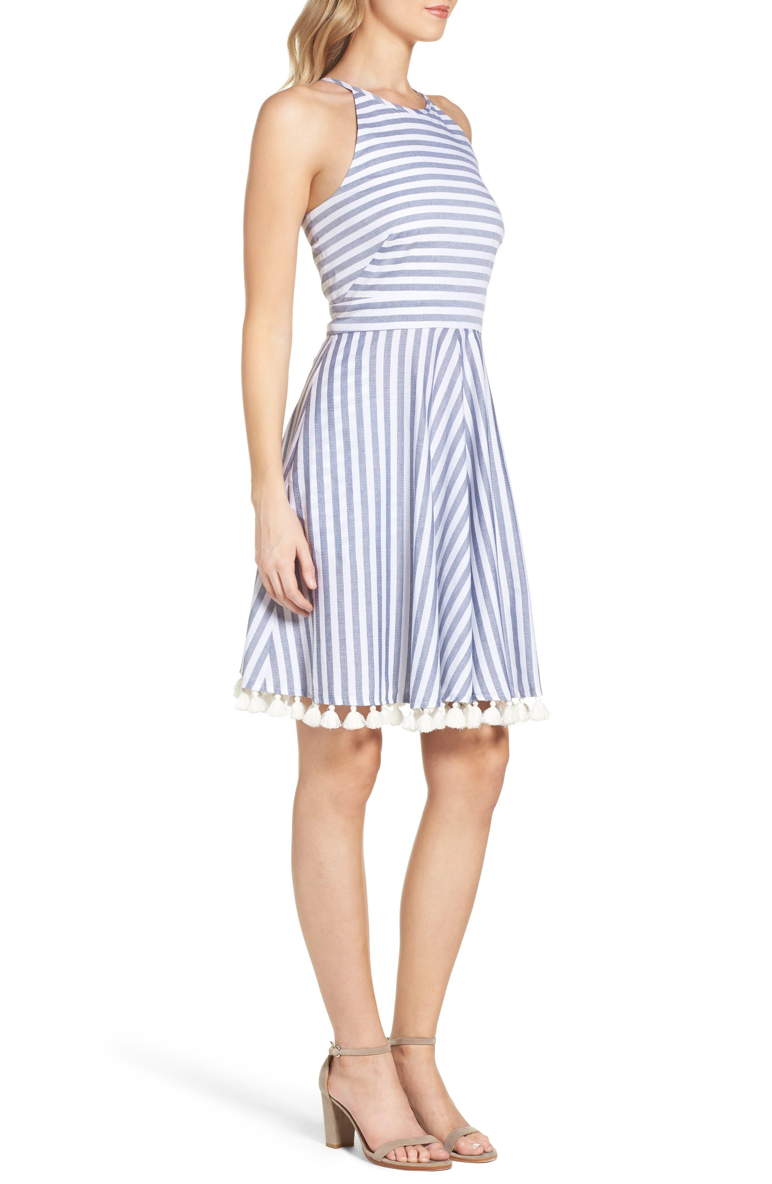 Stripe Fit & Flare Dress,                             Alternate thumbnail 3, color,                             Navy/ Ivory