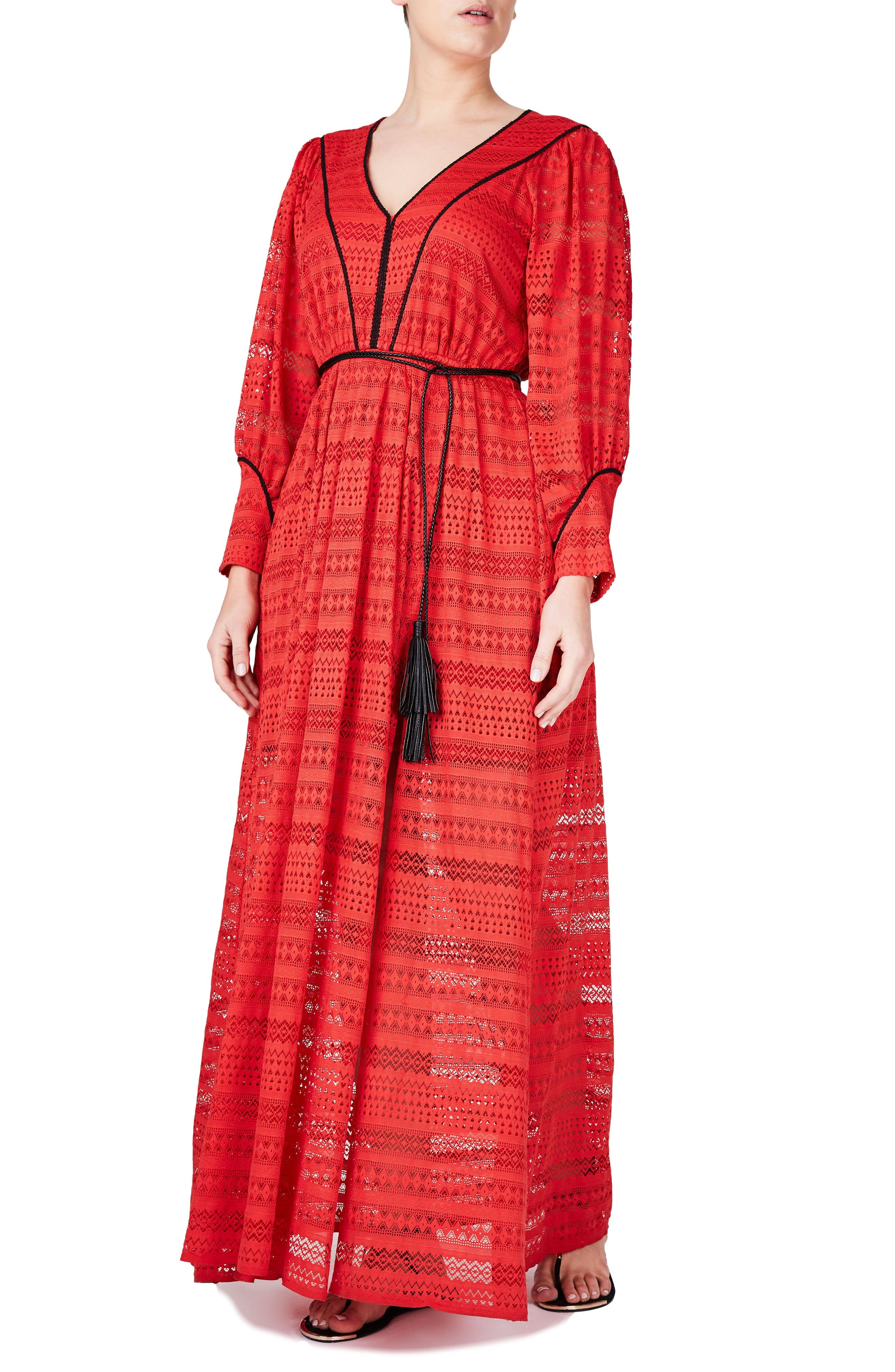 ELVI Contrast Trim Lace Maxi Dress (Plus Size)