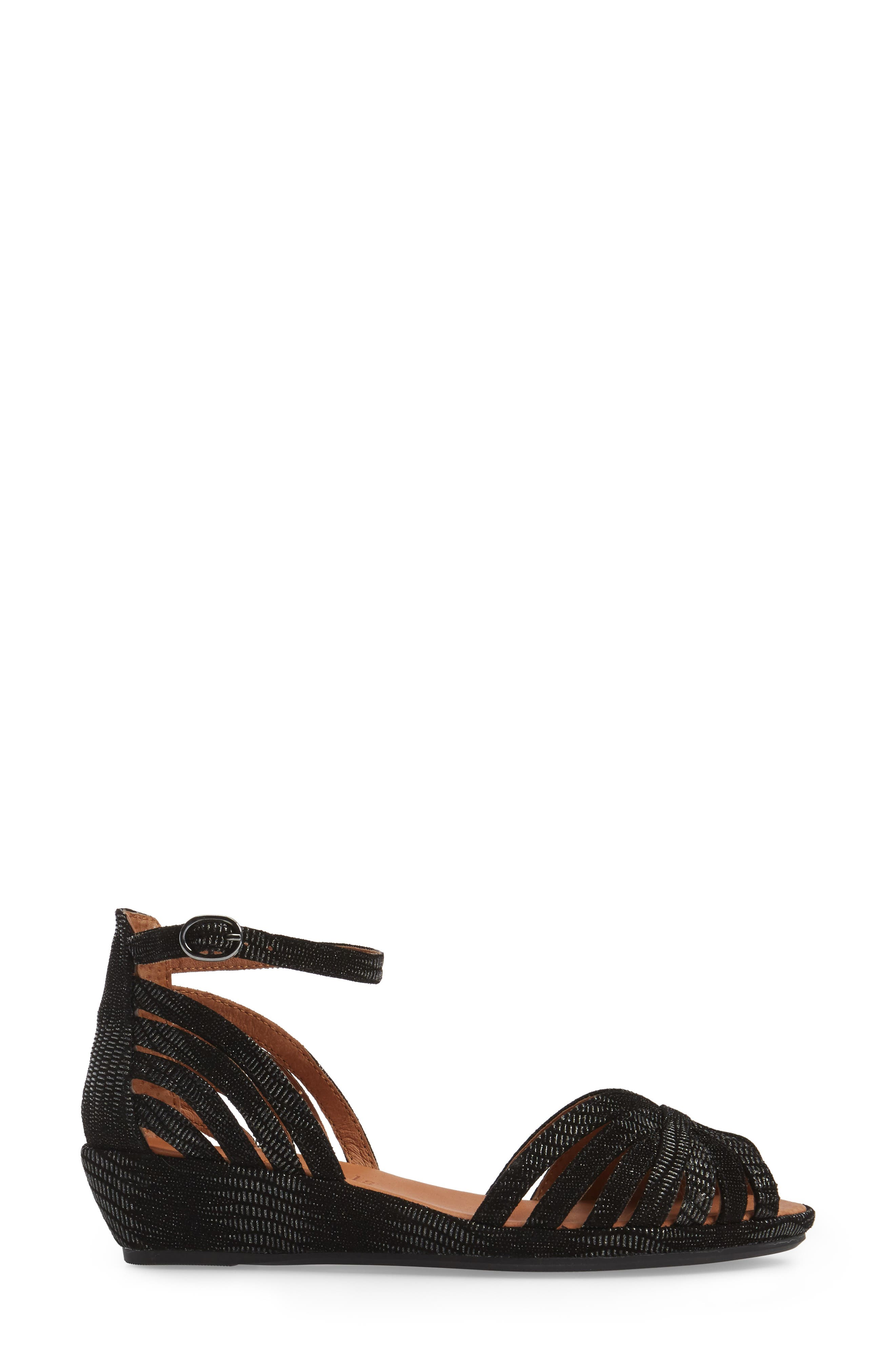 by Kenneth Cole 'Leah' Peep Toe Wedge Sandal,                             Alternate thumbnail 3, color,                             Black/ Black Leather