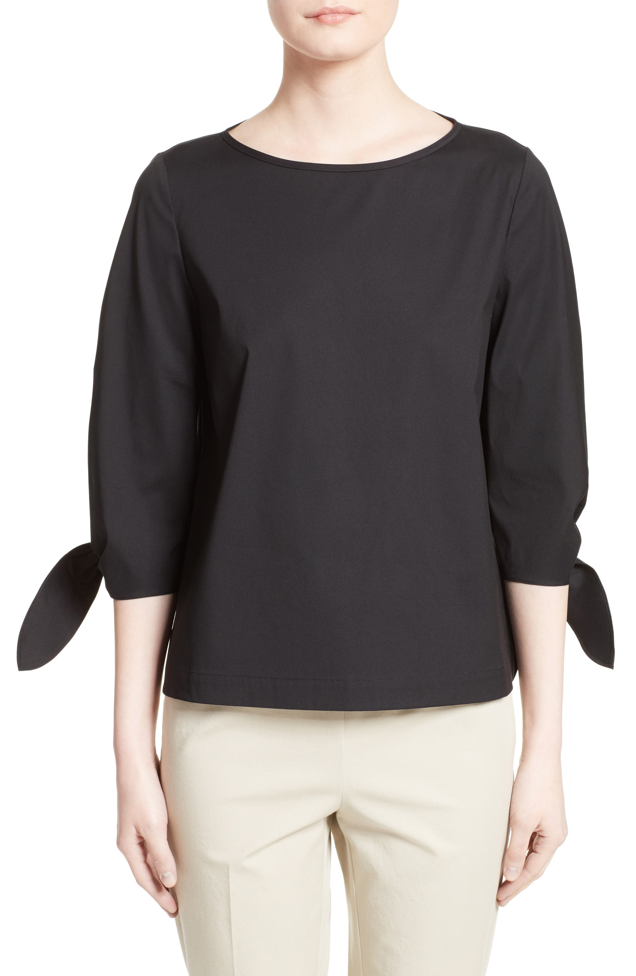 Elaina Stretch Cotton Blouse,                         Main,                         color, Black