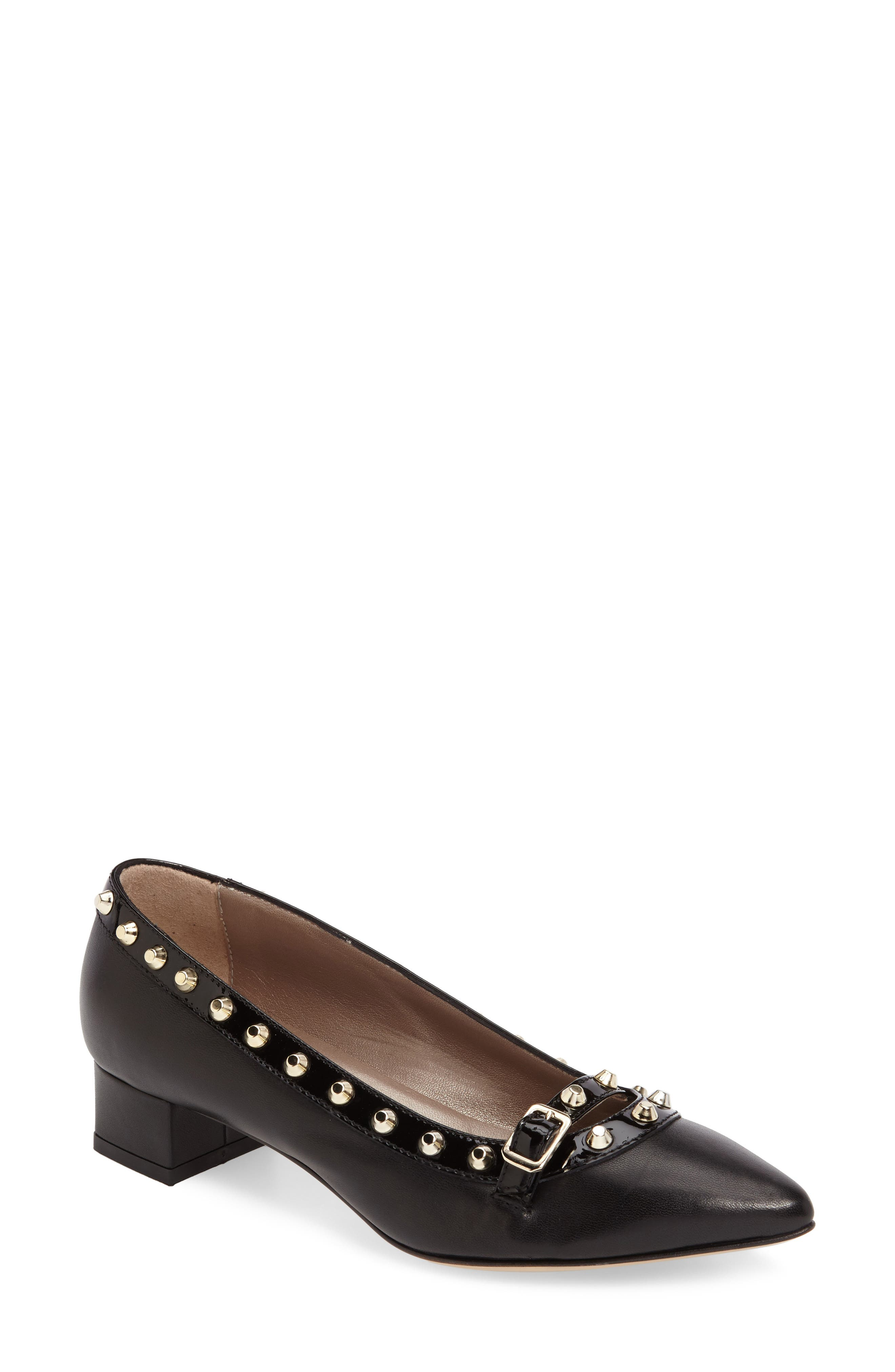 Studded Mary Jane Pump,                             Main thumbnail 1, color,                             Black Leather