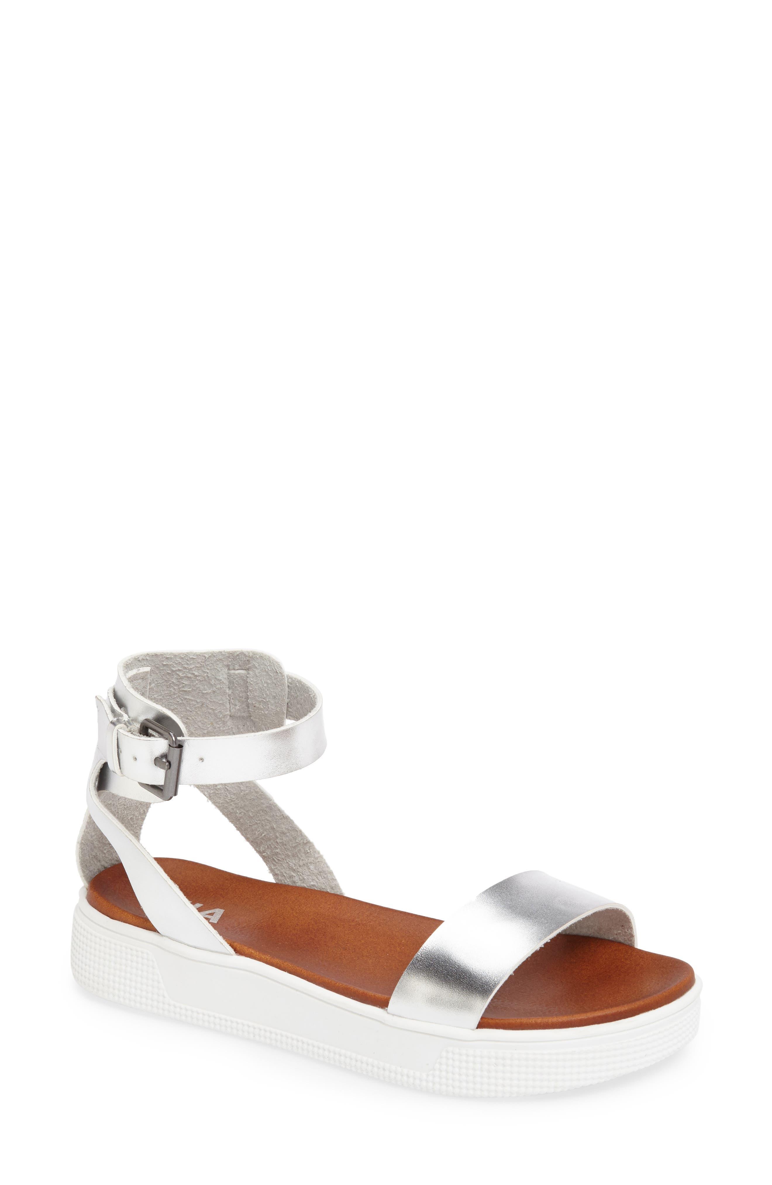 Platform Sandal,                         Main,                         color, Silver Metallic Leather
