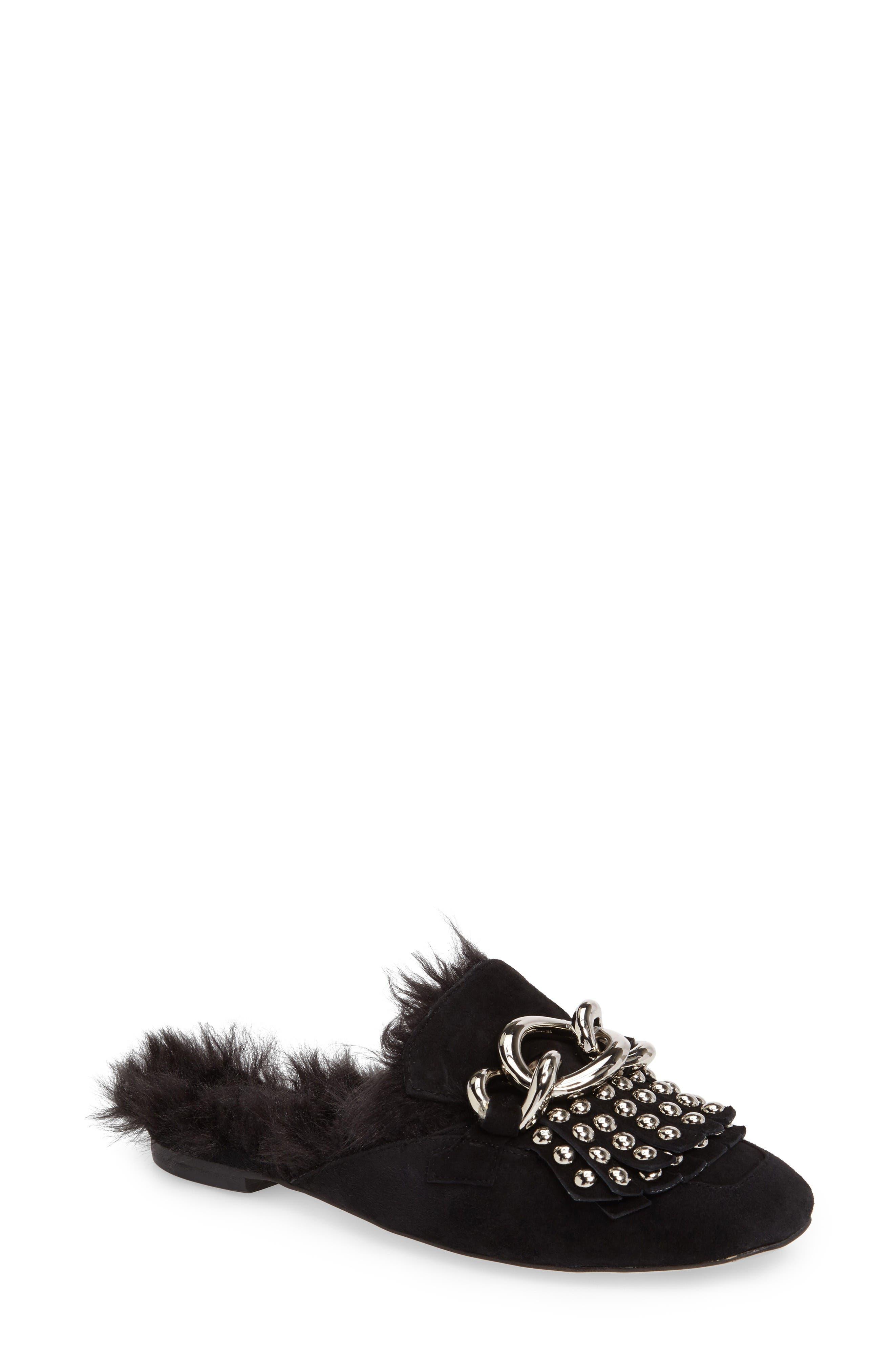 Jeffrey Campbell Ravis Studded Faux Fur Loafer Mule (Women)