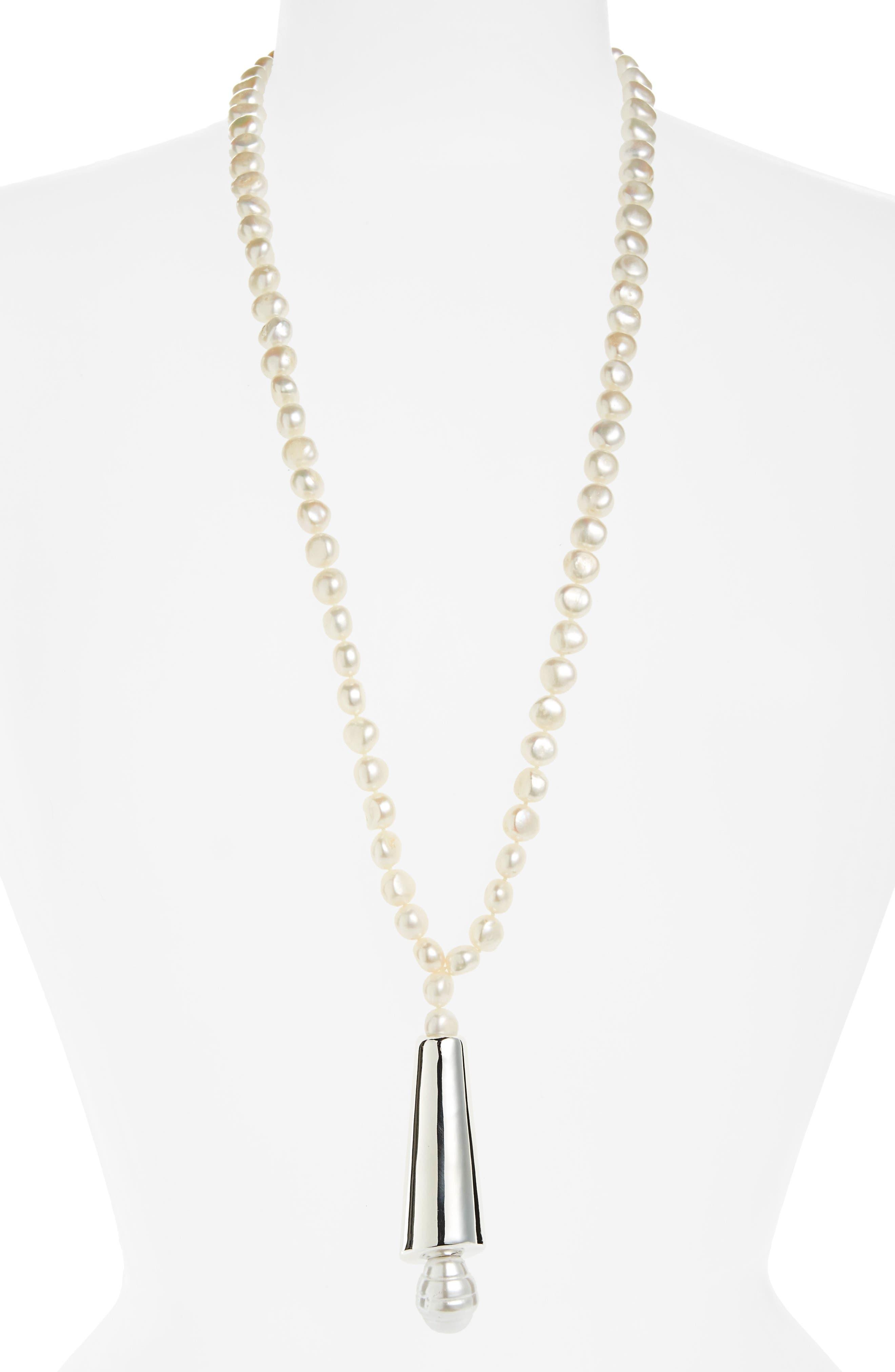 Semiprecious Stone Strand Necklace,                         Main,                         color, Peach/ Silver
