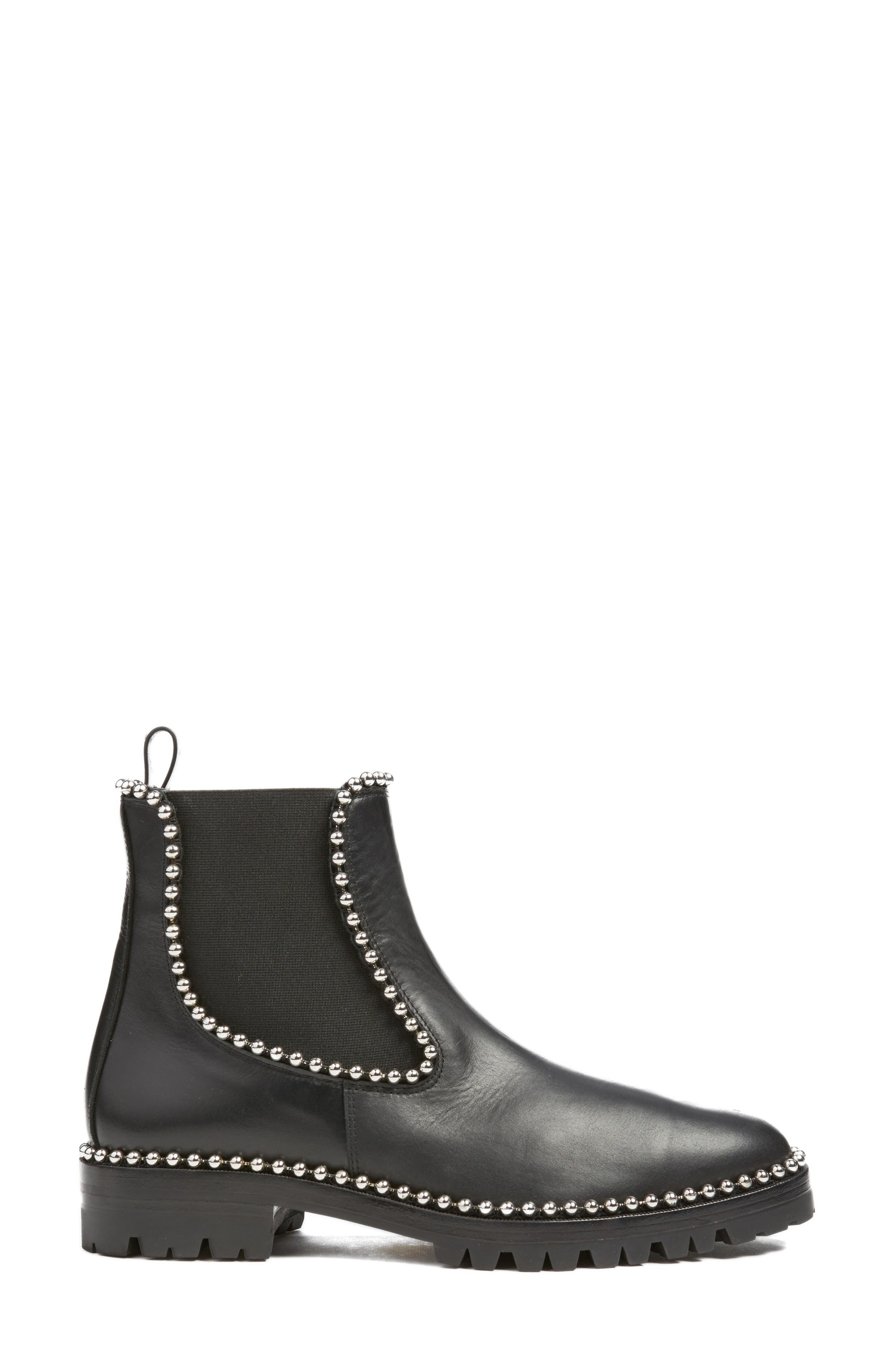 Spencer Chelsea Boot,                             Alternate thumbnail 3, color,                             Black Leather