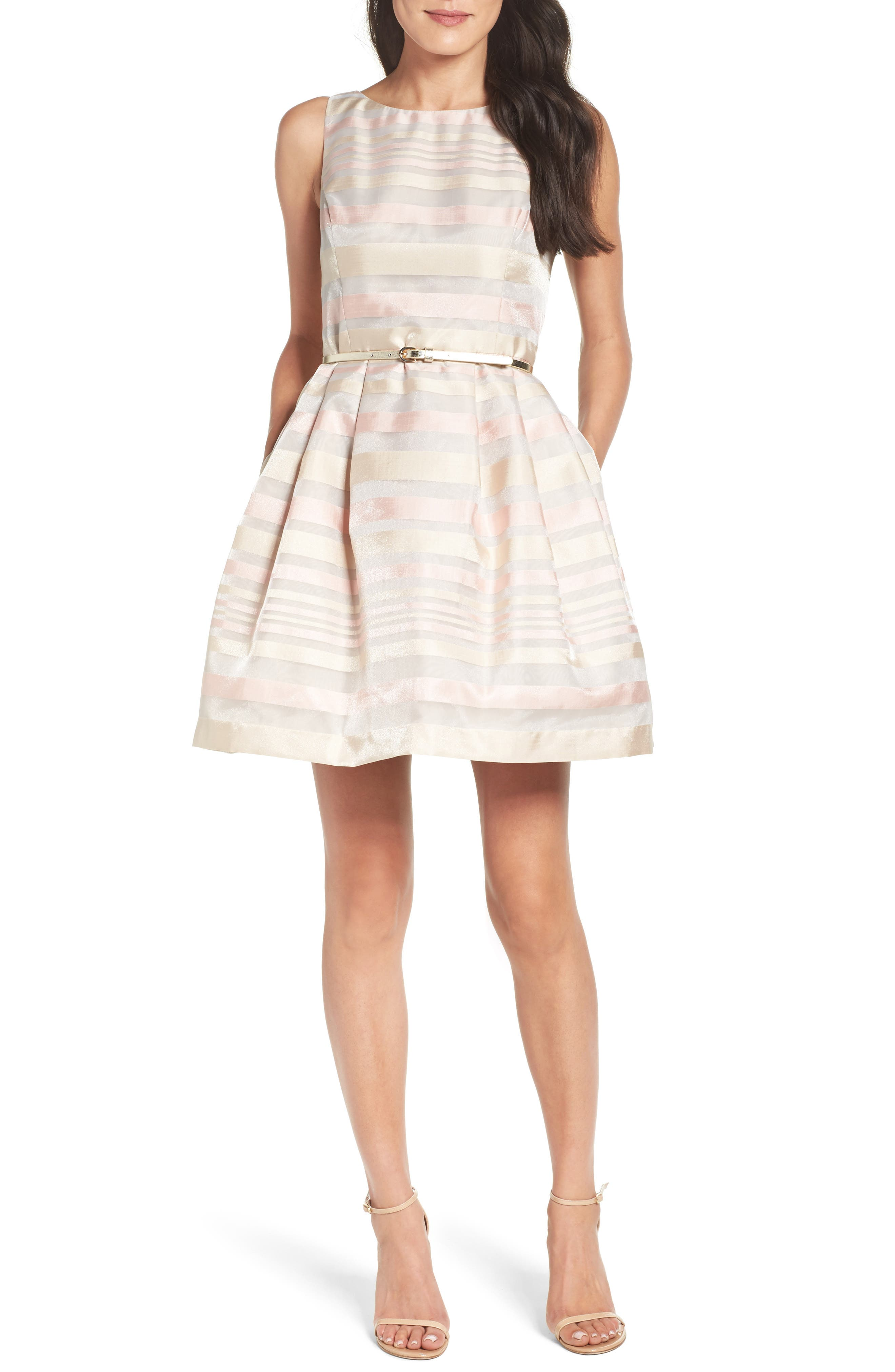 Alternate Image 1 Selected - Eliza J Stripe Fit & Flare Dress