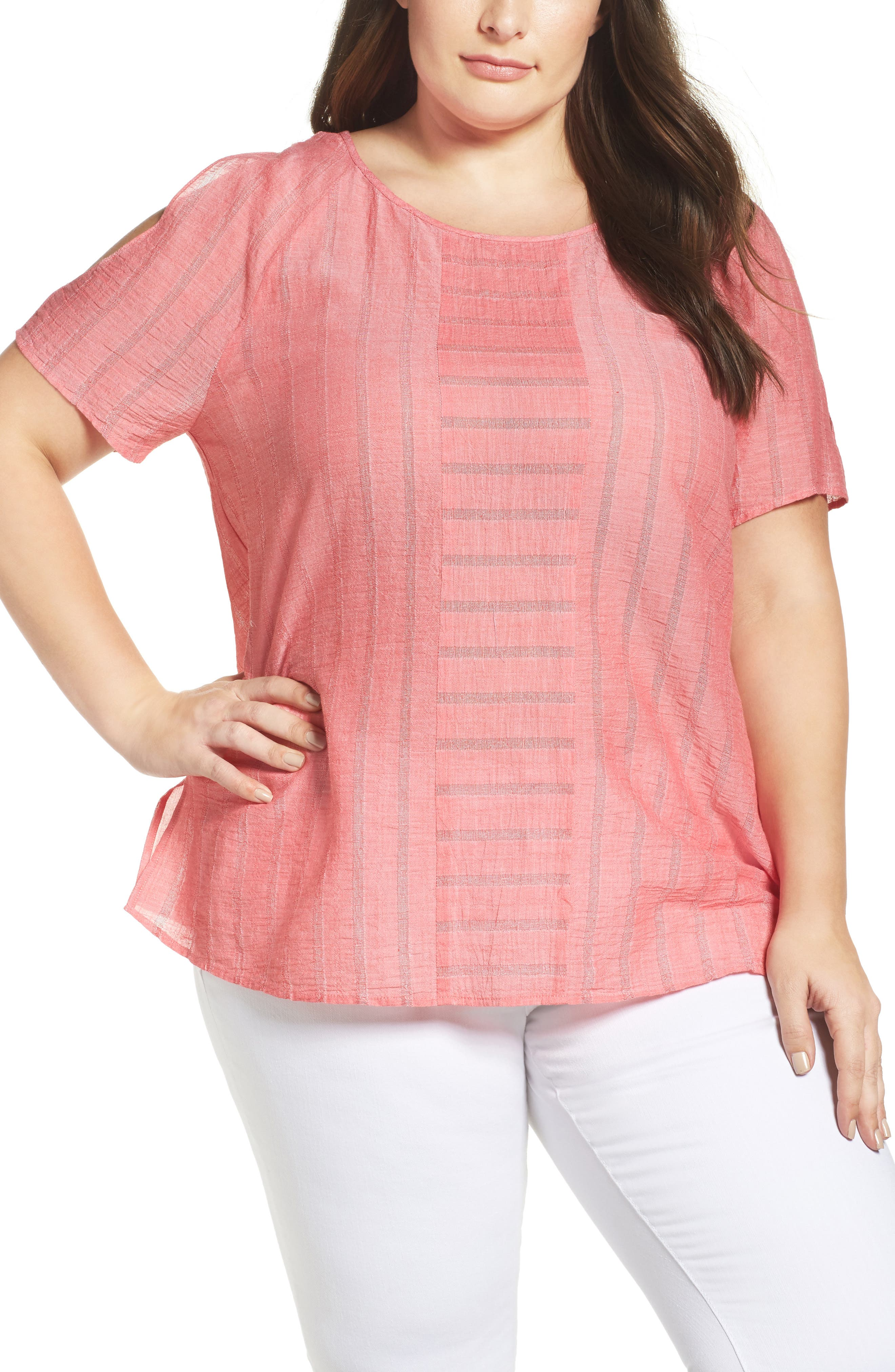 Main Image - Two by Vince Camuto Stripe Gauze Cold Shoulder Top (Plus Size)