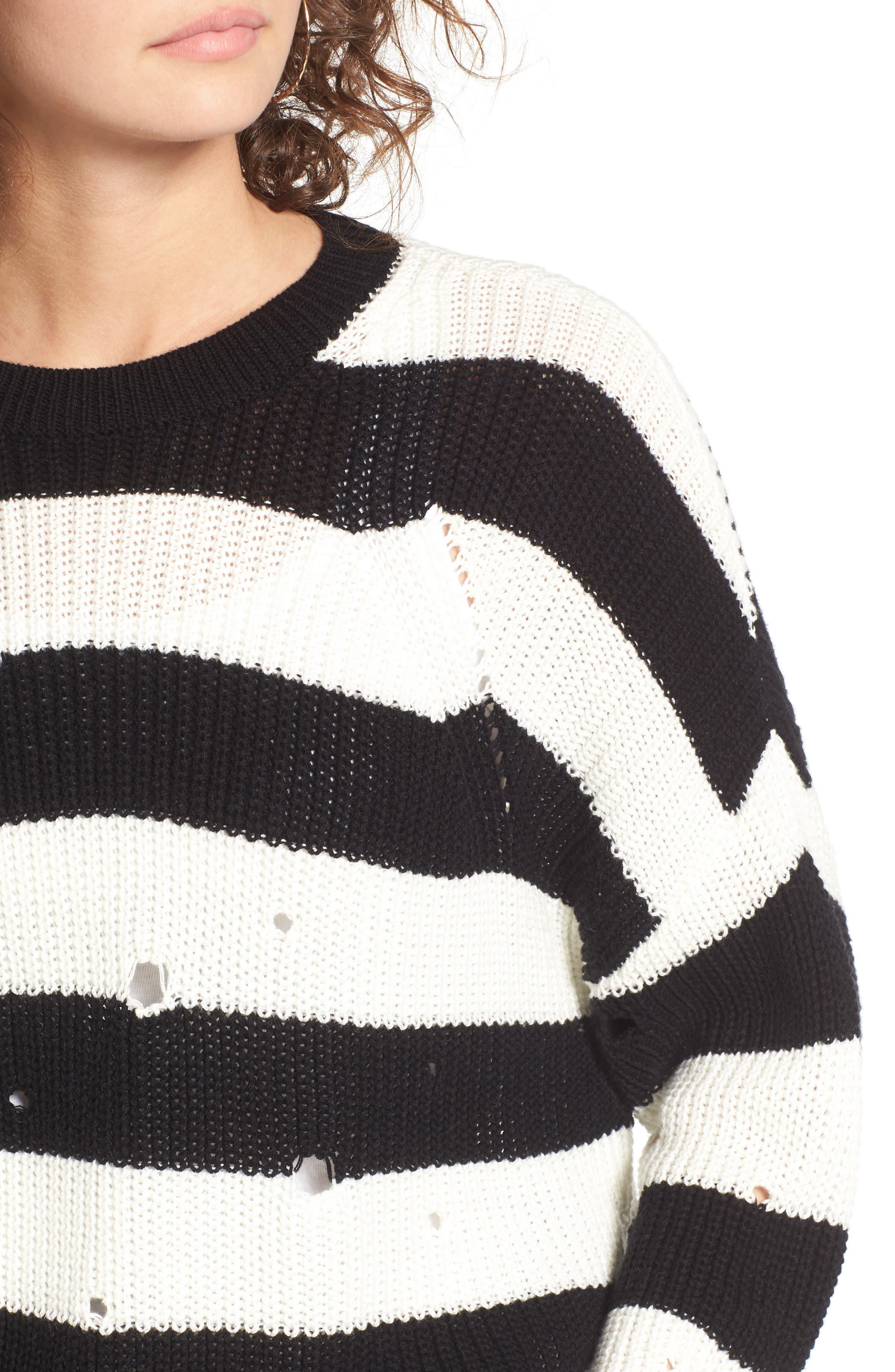 Alternate Image 5  - BP. Decontructed Stripe Cotton Pullover