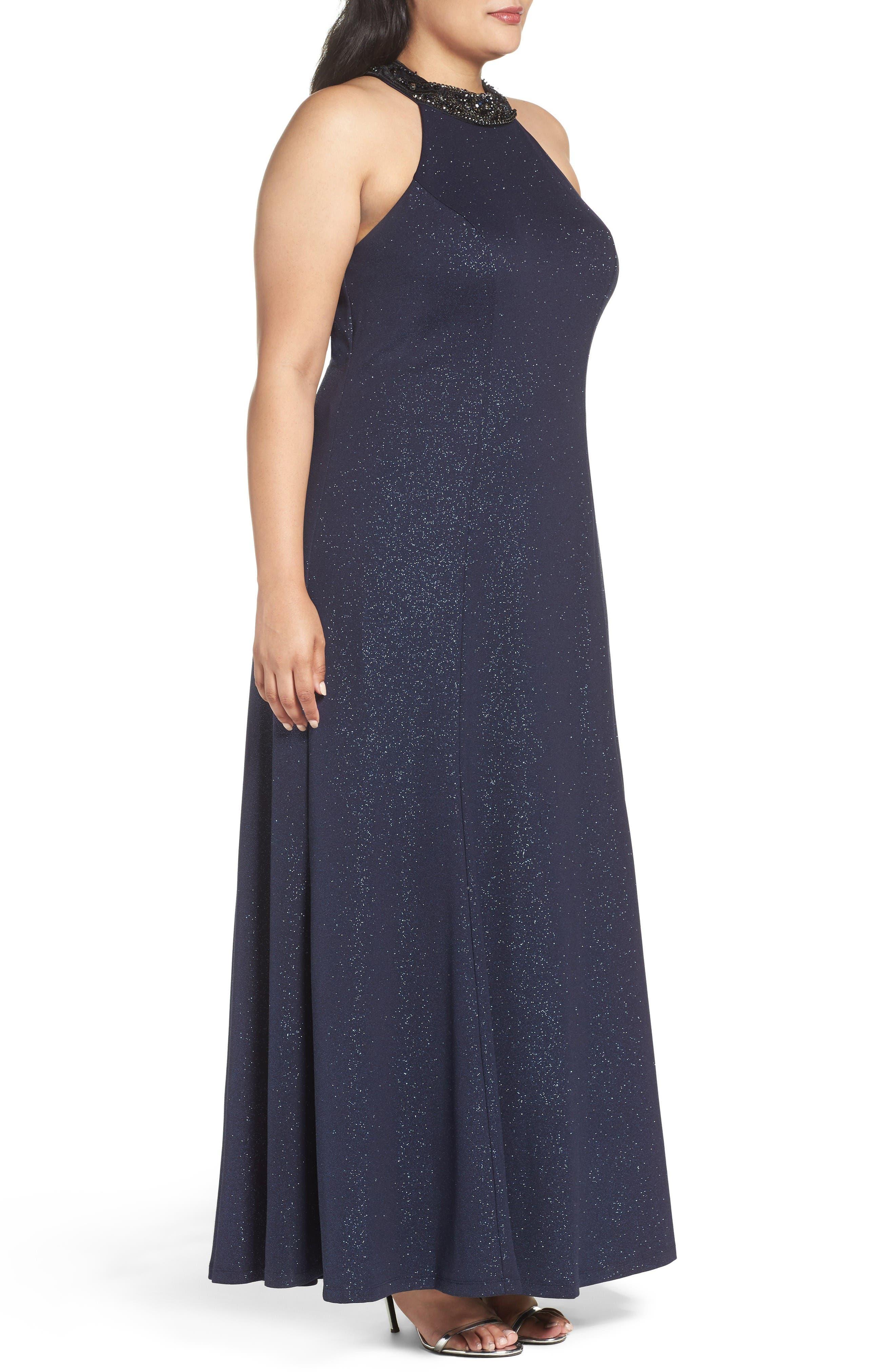 Alternate Image 3  - Marina Embellished Halter Gown (Plus Size)
