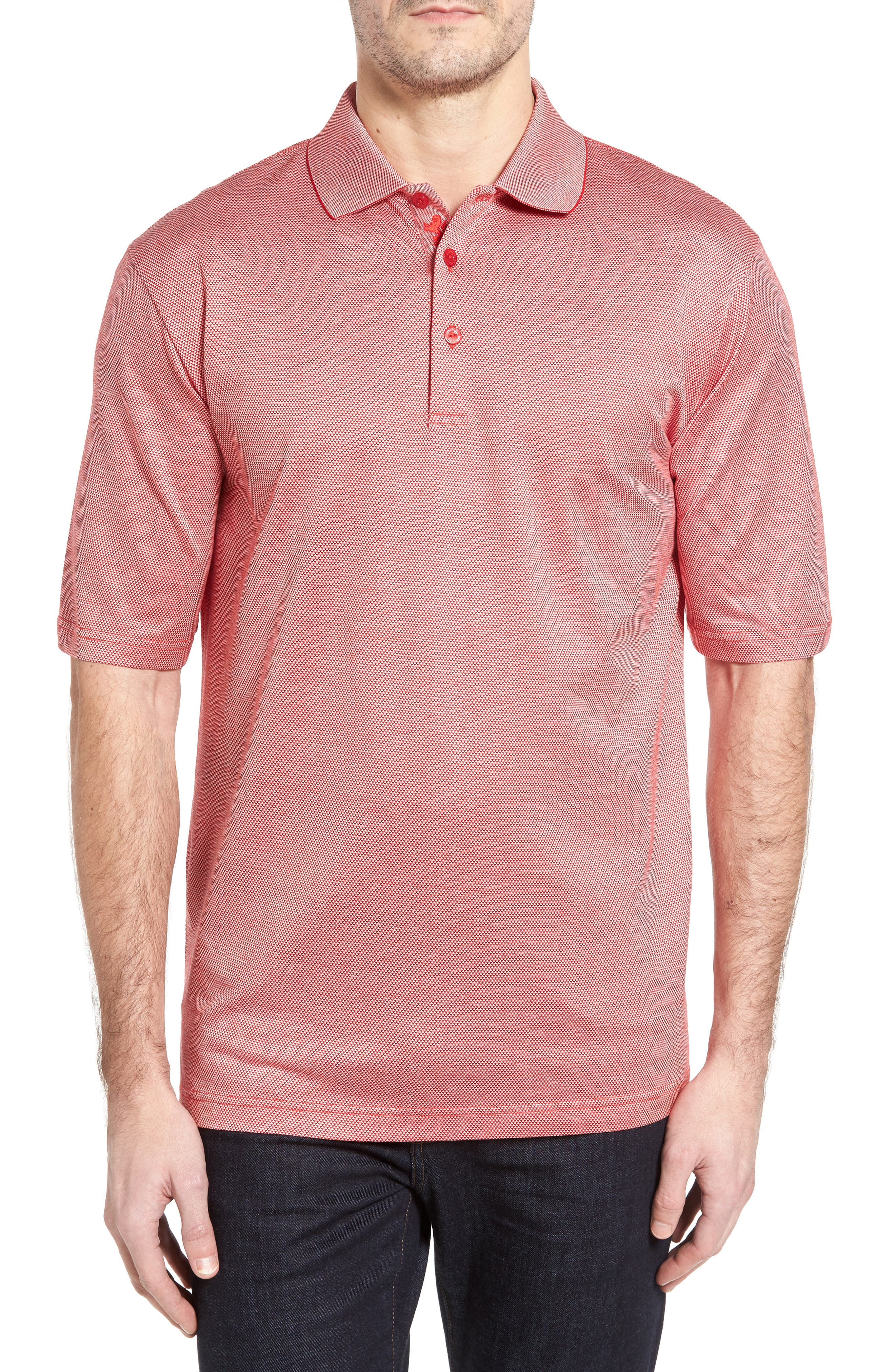 Two-Tone Polo,                             Main thumbnail 1, color,                             Coral